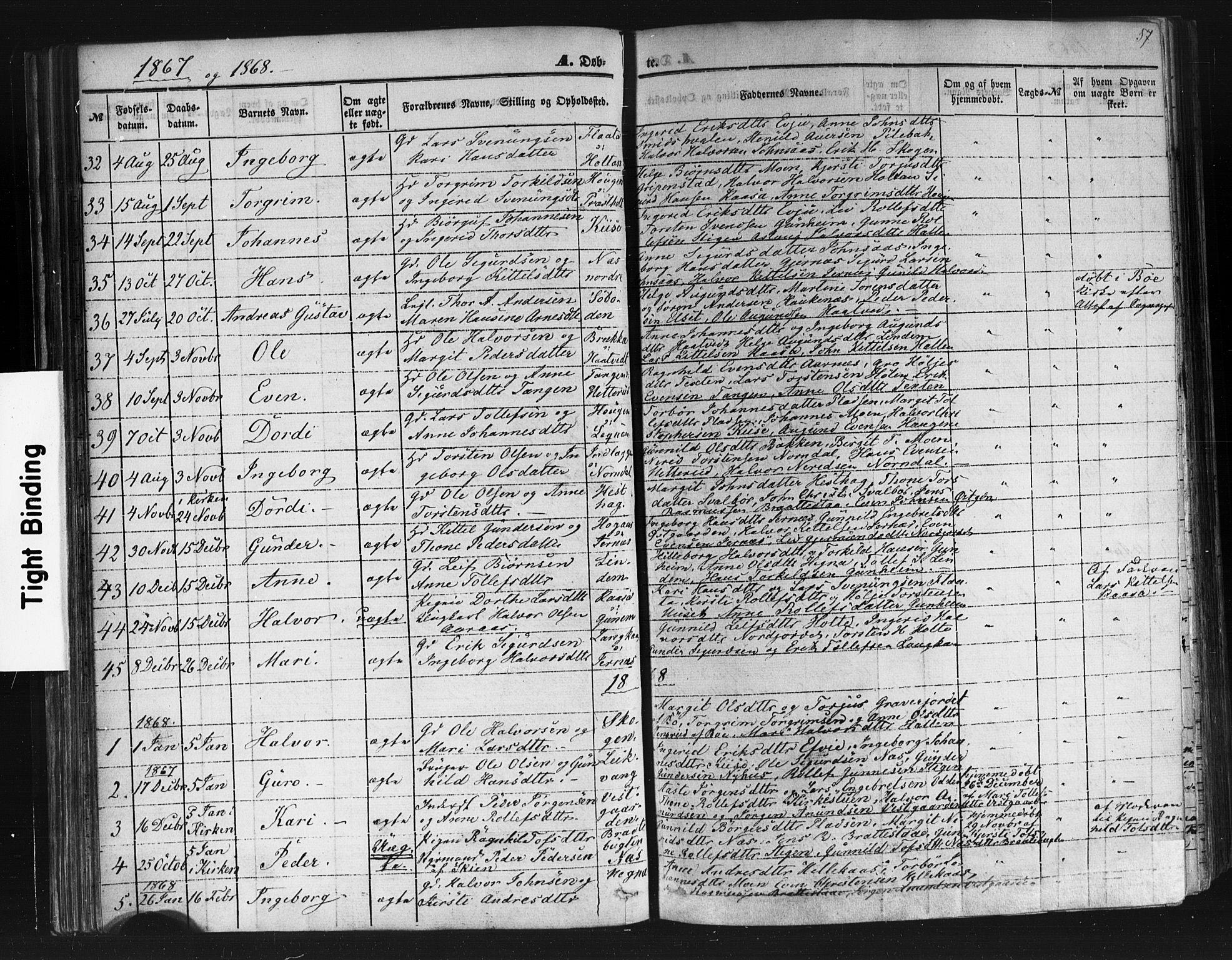 SAKO, Sauherad kirkebøker, F/Fb/L0001: Ministerialbok nr. II 1, 1851-1877, s. 57
