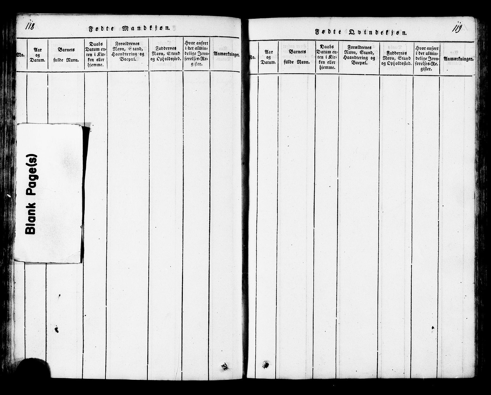 SAT, Ministerialprotokoller, klokkerbøker og fødselsregistre - Nord-Trøndelag, 717/L0169: Klokkerbok nr. 717C01, 1816-1834, s. 118-119