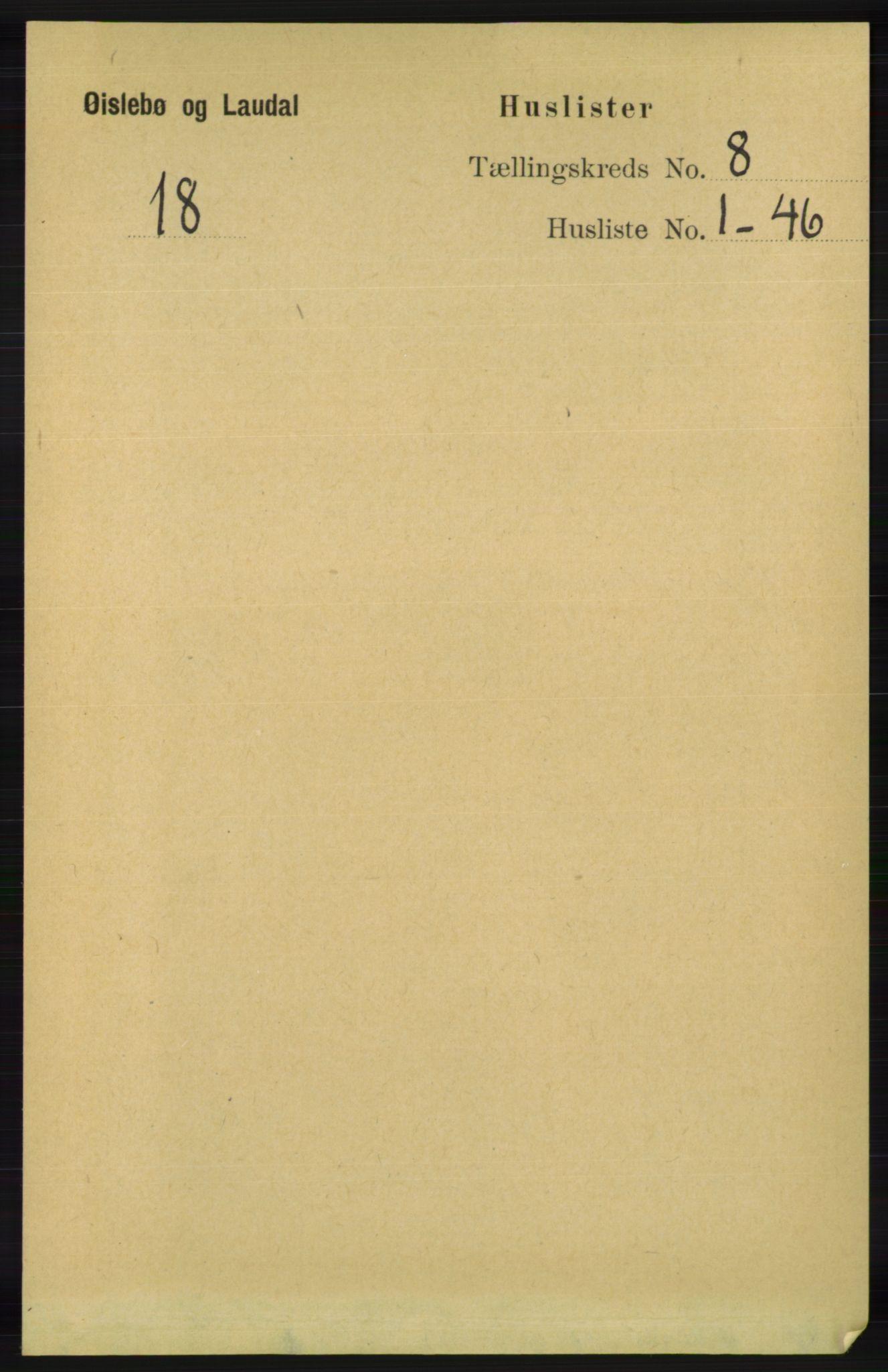RA, Folketelling 1891 for 1021 Øyslebø og Laudal herred, 1891, s. 2054