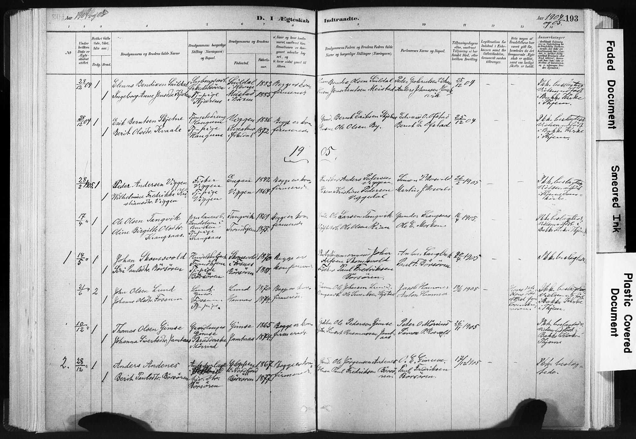 SAT, Ministerialprotokoller, klokkerbøker og fødselsregistre - Sør-Trøndelag, 665/L0773: Ministerialbok nr. 665A08, 1879-1905, s. 193