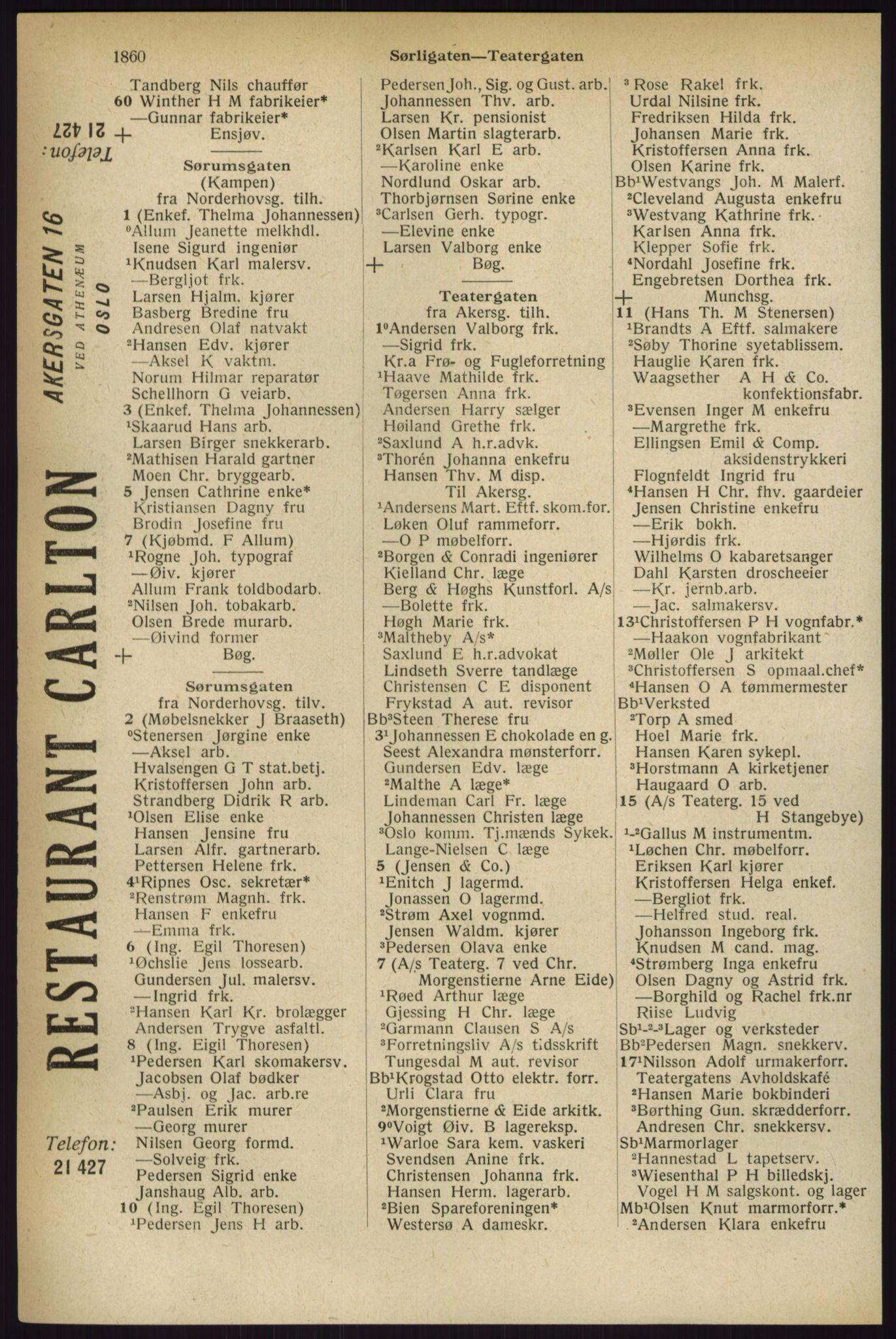 RA, Oslo adressebok (publikasjon)*, 1927, s. 1860
