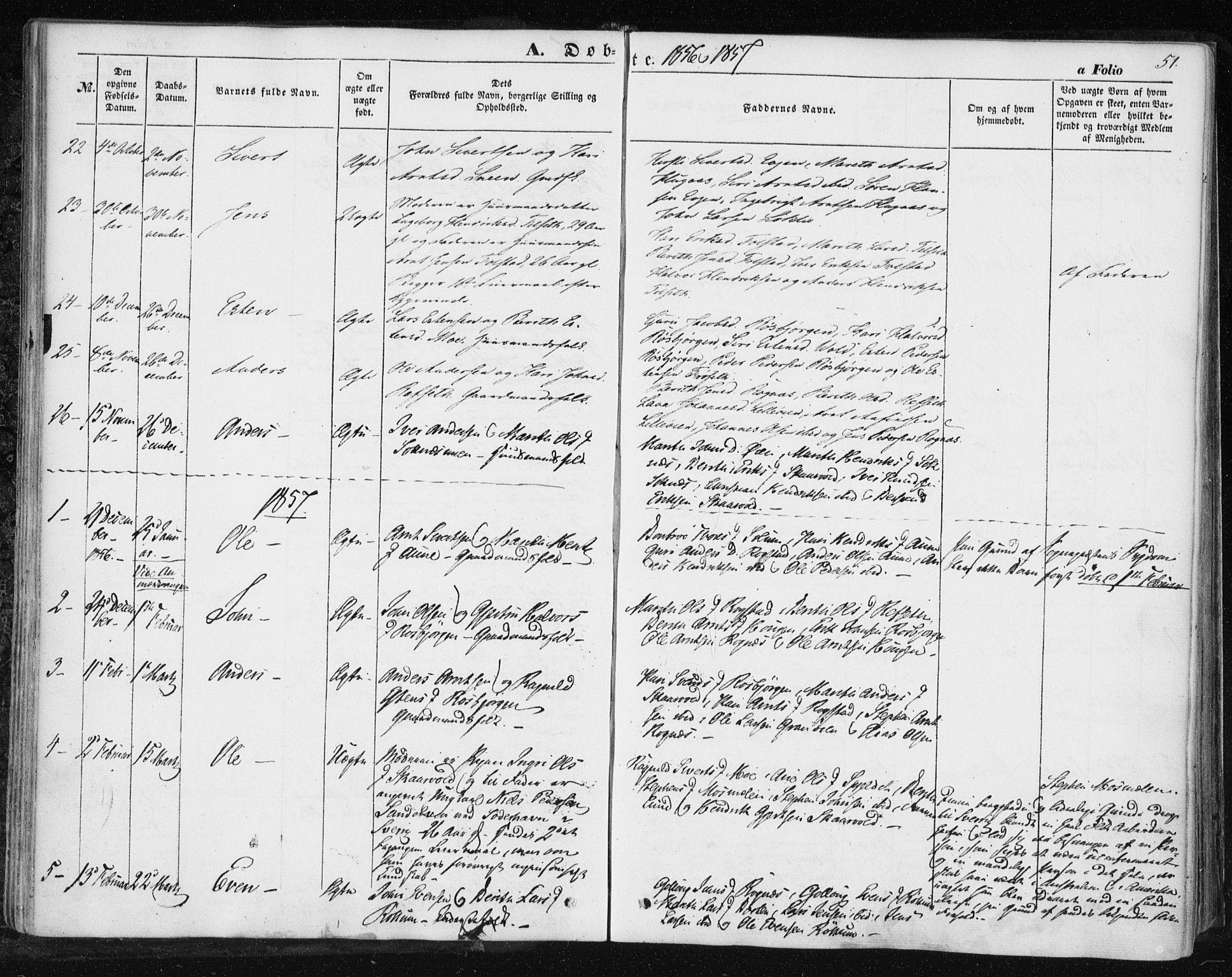 SAT, Ministerialprotokoller, klokkerbøker og fødselsregistre - Sør-Trøndelag, 687/L1000: Ministerialbok nr. 687A06, 1848-1869, s. 51