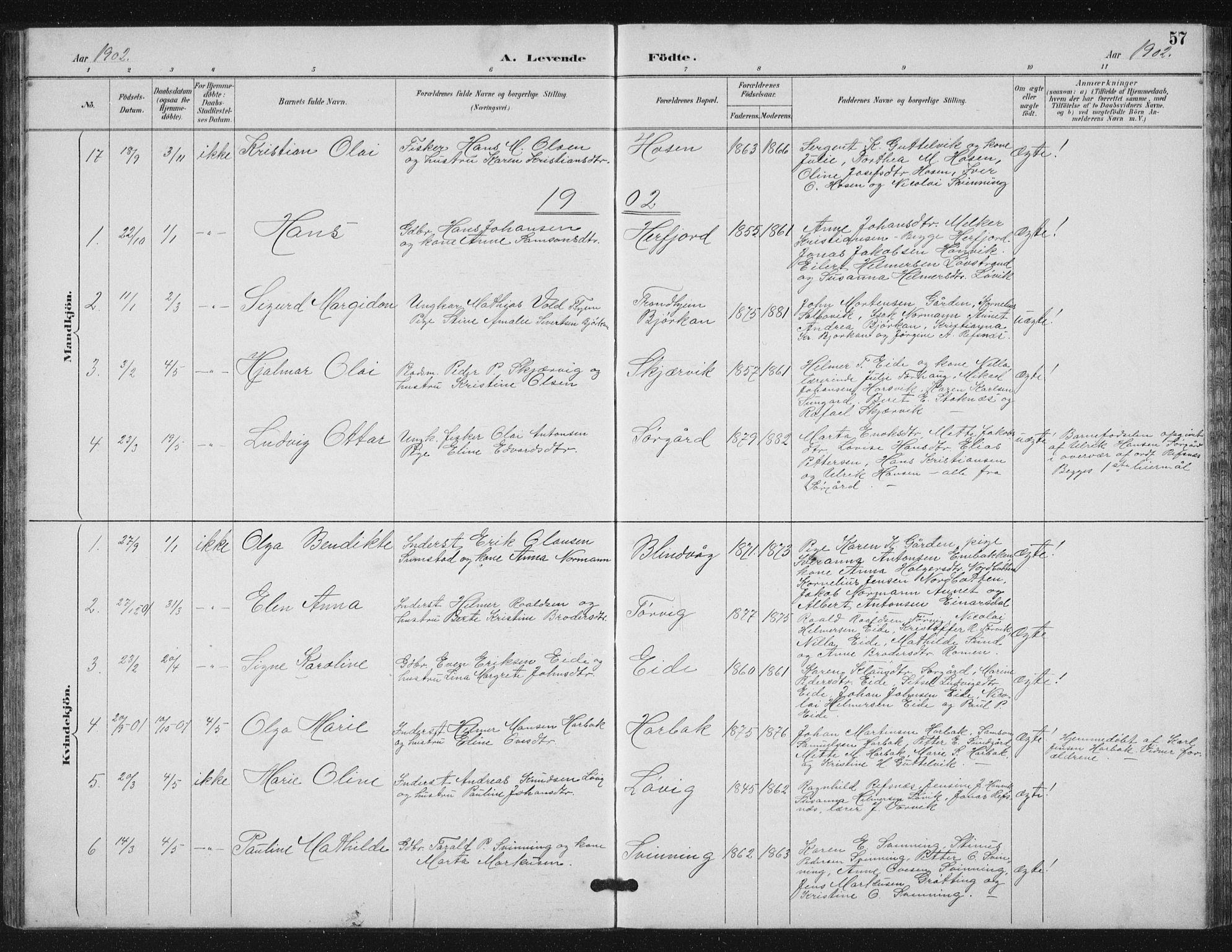 SAT, Ministerialprotokoller, klokkerbøker og fødselsregistre - Sør-Trøndelag, 656/L0698: Klokkerbok nr. 656C04, 1890-1904, s. 57