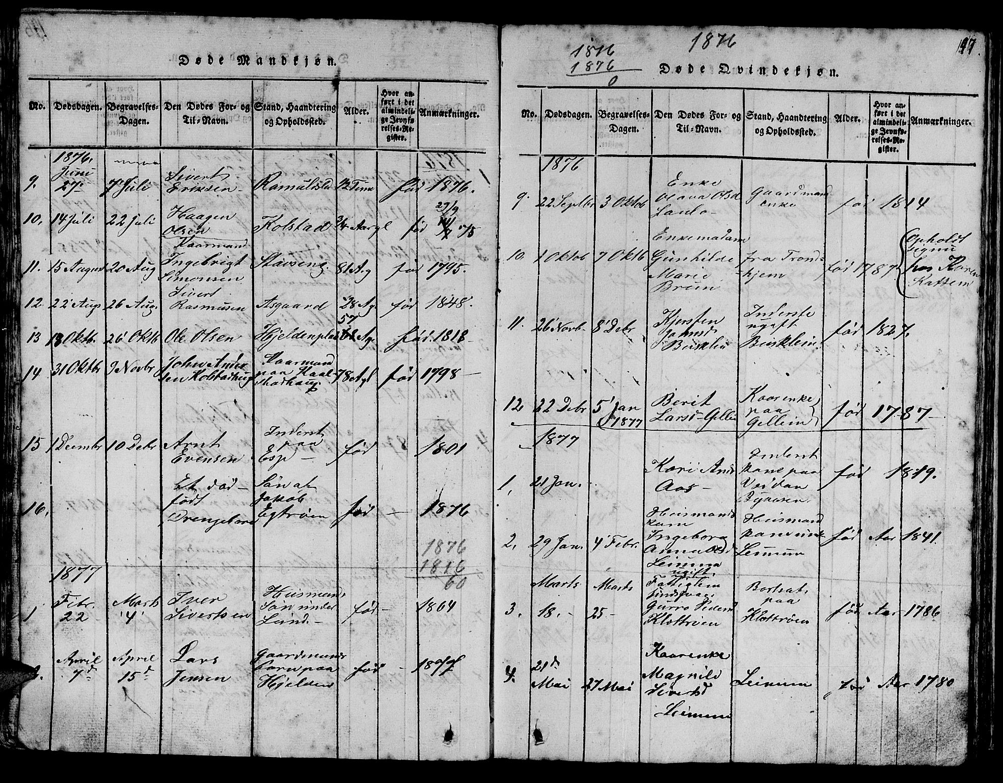SAT, Ministerialprotokoller, klokkerbøker og fødselsregistre - Sør-Trøndelag, 613/L0393: Klokkerbok nr. 613C01, 1816-1886, s. 147