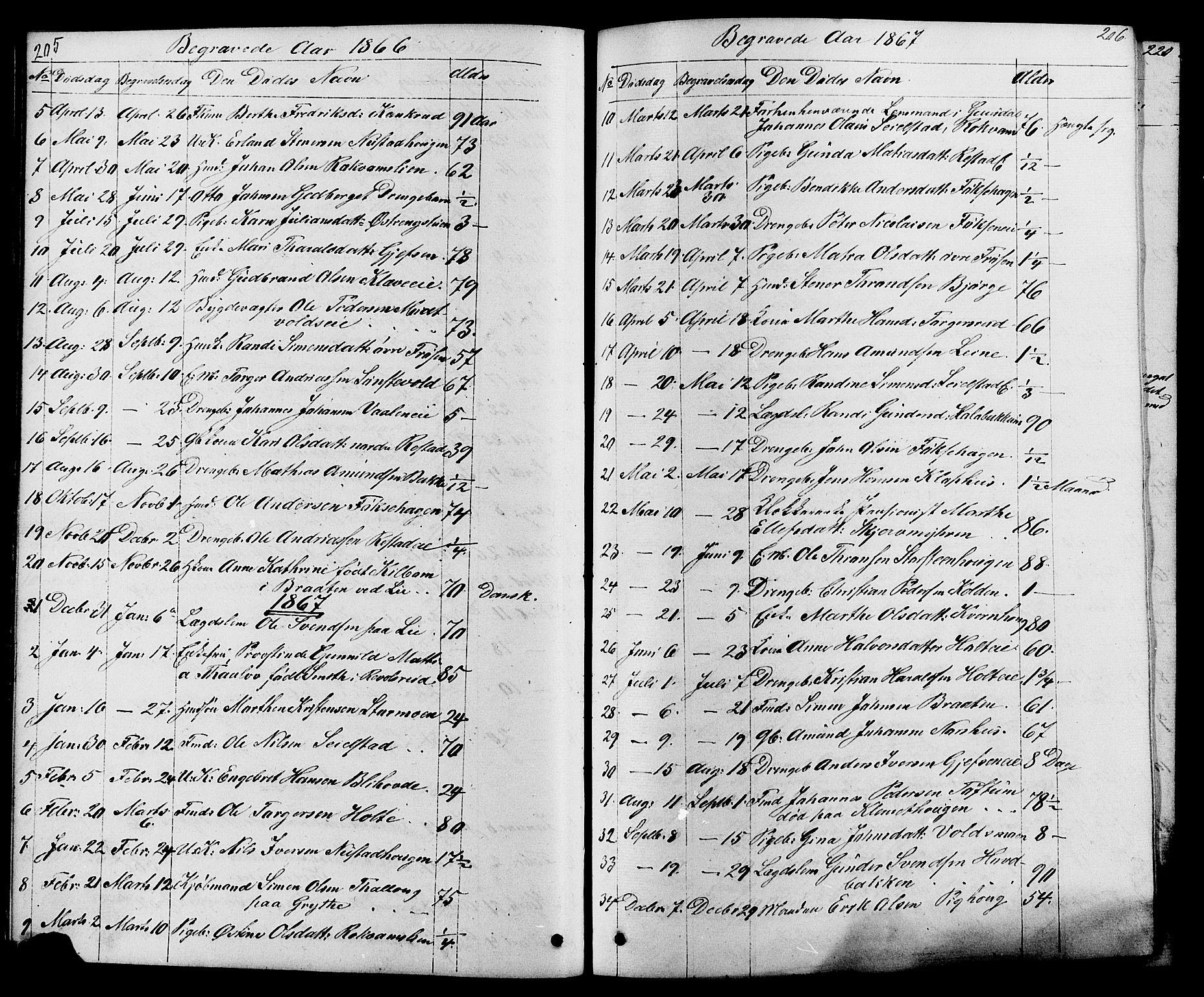 SAH, Østre Gausdal prestekontor, Klokkerbok nr. 1, 1863-1893, s. 205-206