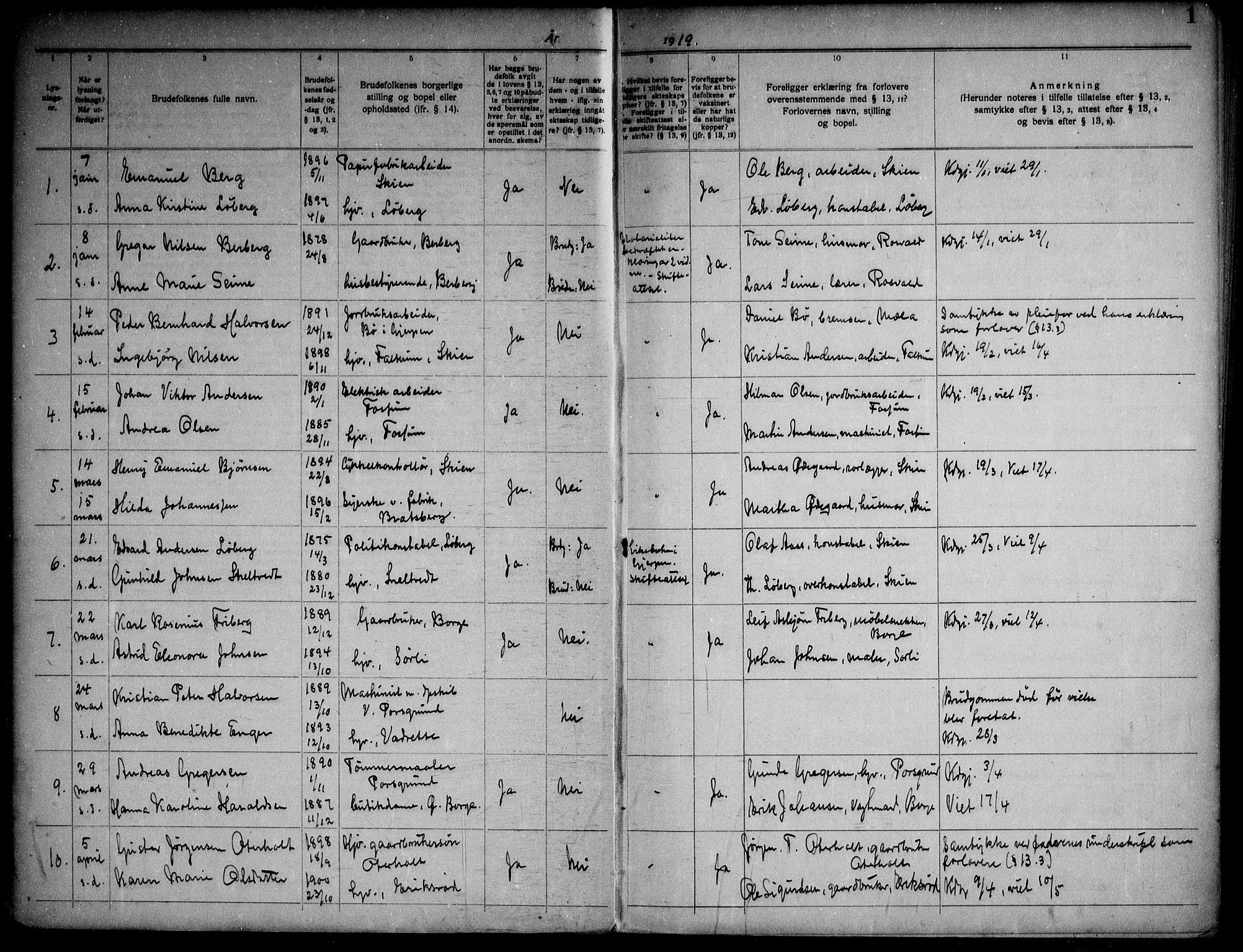 SAKO, Gjerpen kirkebøker, H/Ha/L0003: Lysningsprotokoll nr. I 3, 1919-1946, s. 1