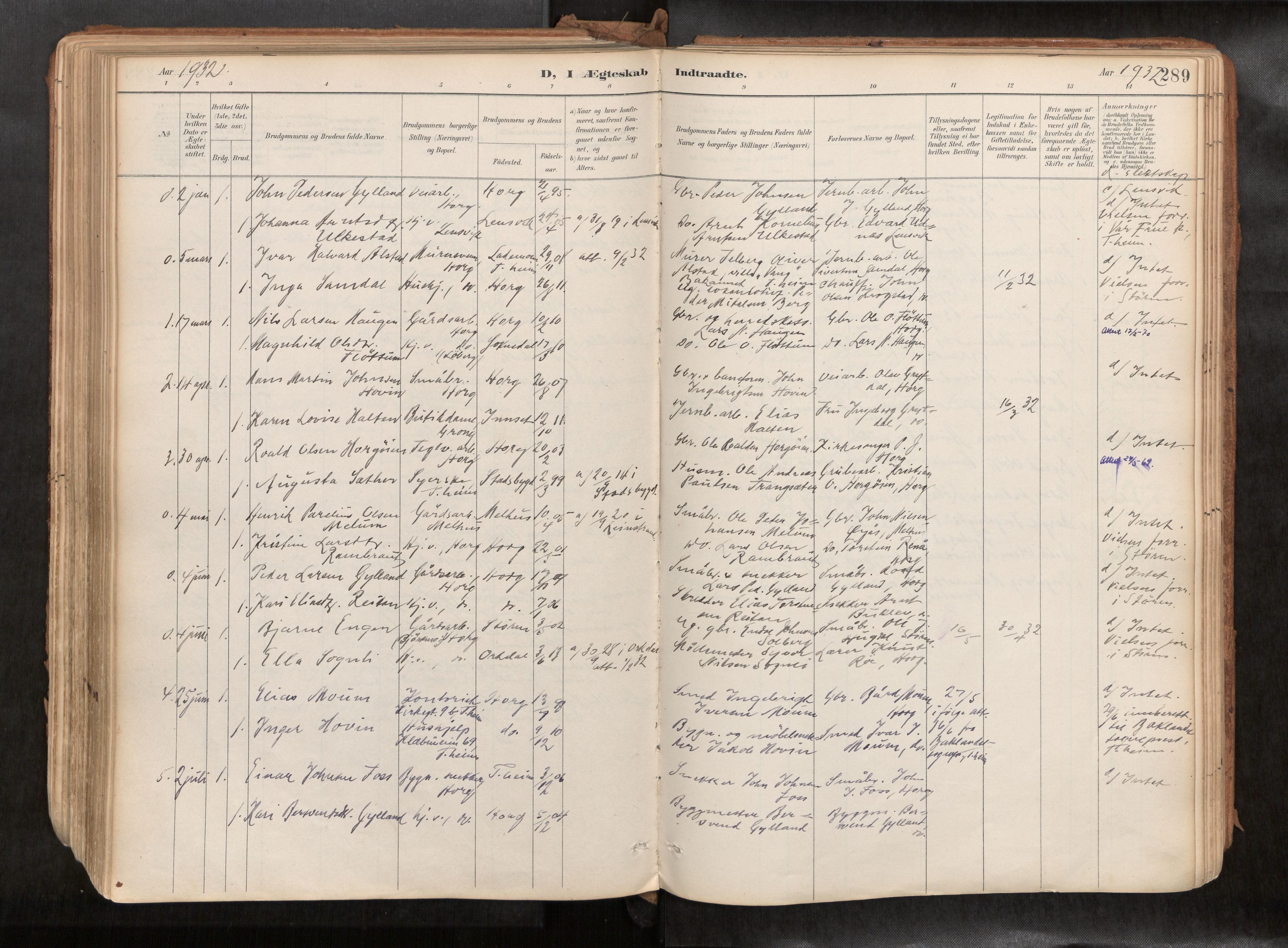 SAT, Ministerialprotokoller, klokkerbøker og fødselsregistre - Sør-Trøndelag, 692/L1105b: Ministerialbok nr. 692A06, 1891-1934, s. 289