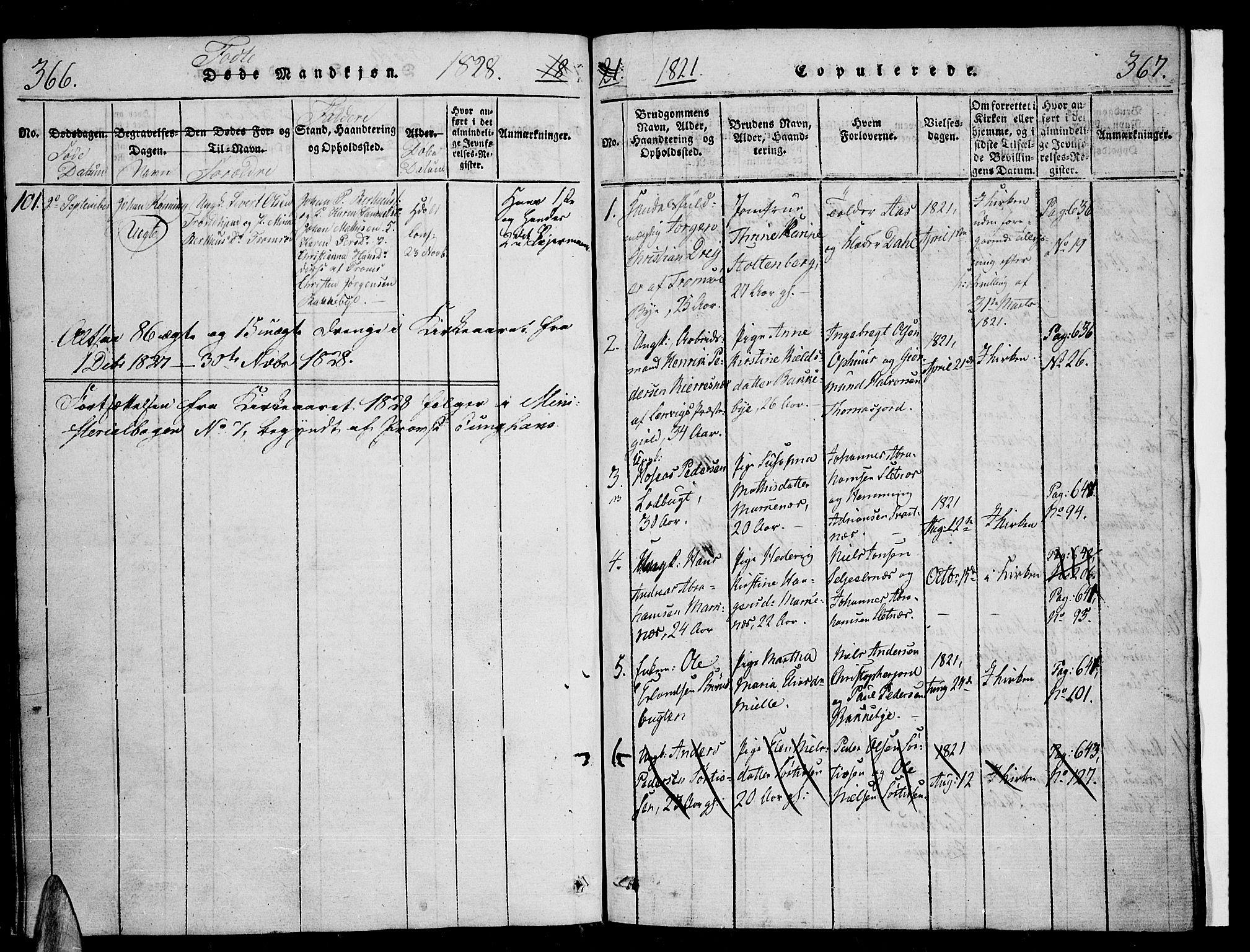SATØ, Tromsø sokneprestkontor/stiftsprosti/domprosti, G/Ga/L0007kirke: Ministerialbok nr. 7, 1821-1828, s. 366-367