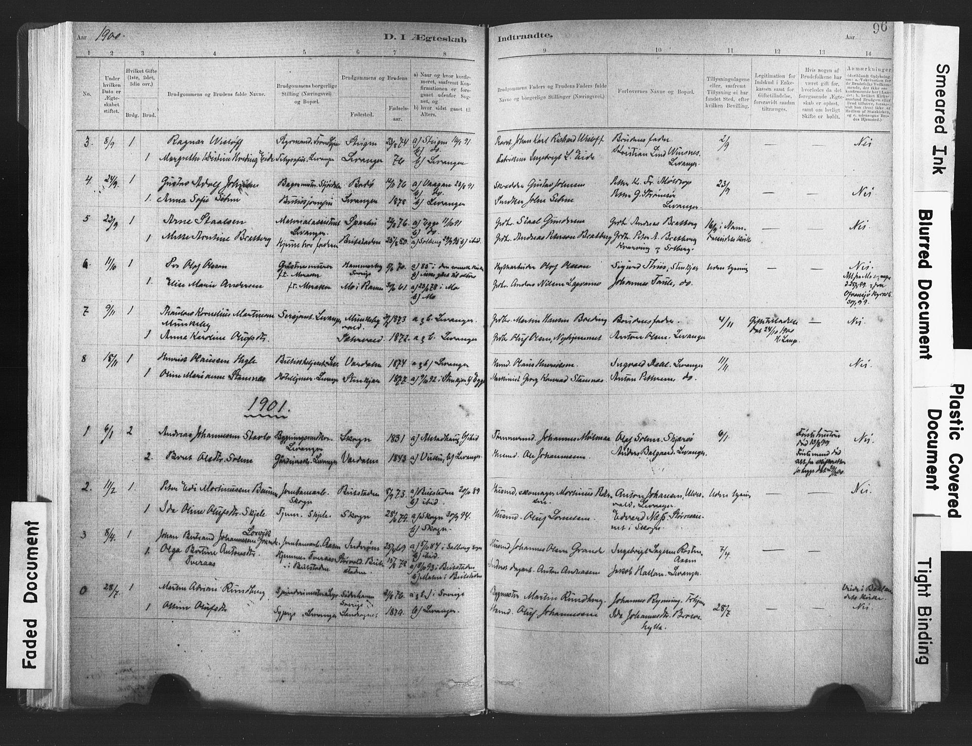 SAT, Ministerialprotokoller, klokkerbøker og fødselsregistre - Nord-Trøndelag, 720/L0189: Ministerialbok nr. 720A05, 1880-1911, s. 96