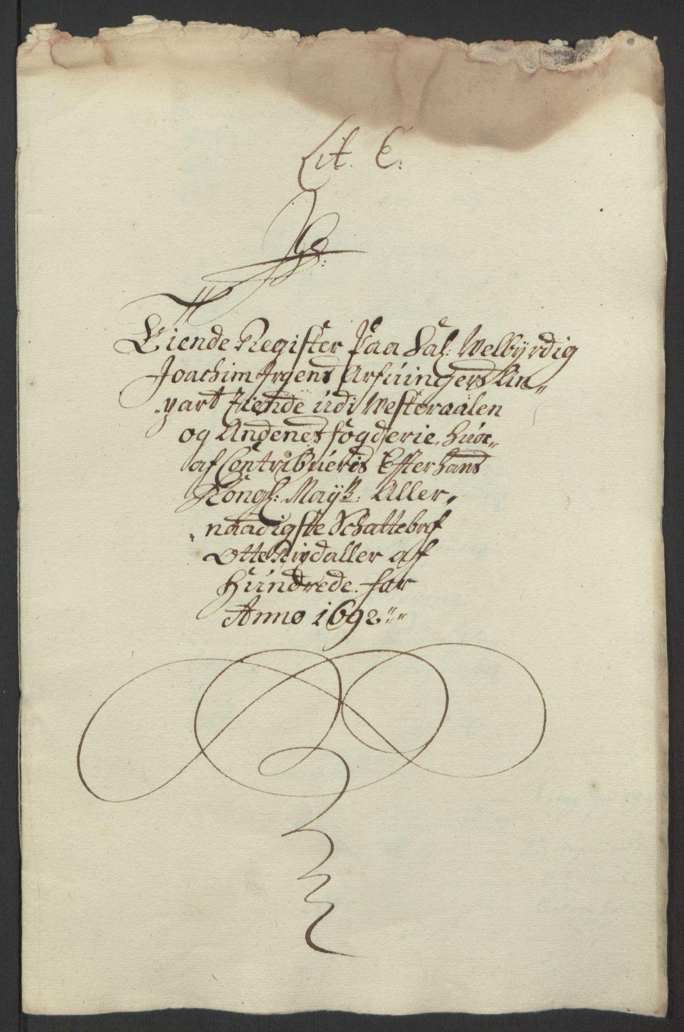 RA, Rentekammeret inntil 1814, Reviderte regnskaper, Fogderegnskap, R67/L4676: Fogderegnskap Vesterålen, Andenes og Lofoten, 1691-1693, s. 119