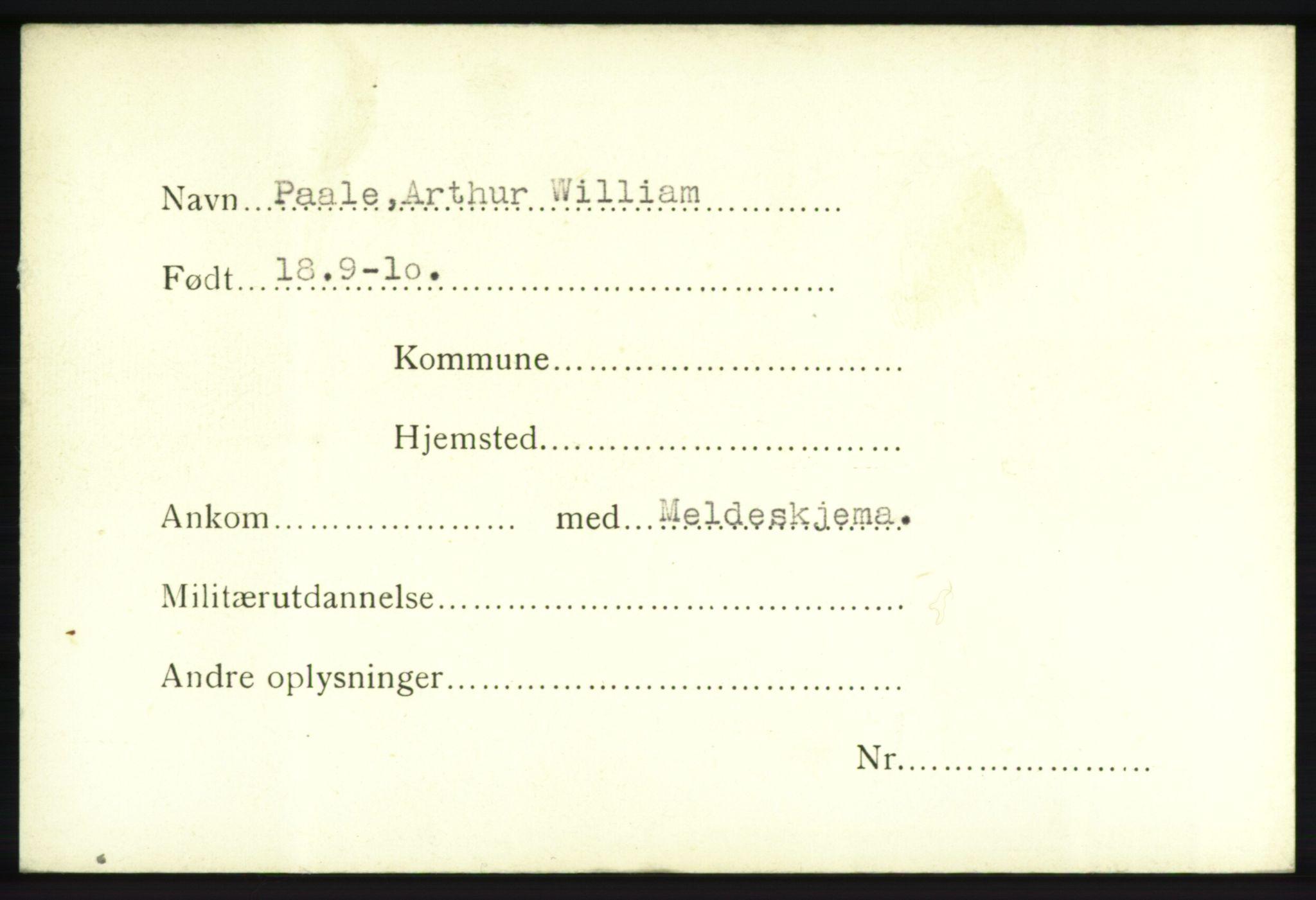 NHM, Forsvarets Overkommando. 2. kontor. Arkiv 8.1. Mottakersentralen FDE og FO.II, P/Pa/L0016: Kortsamling, 1940-1945