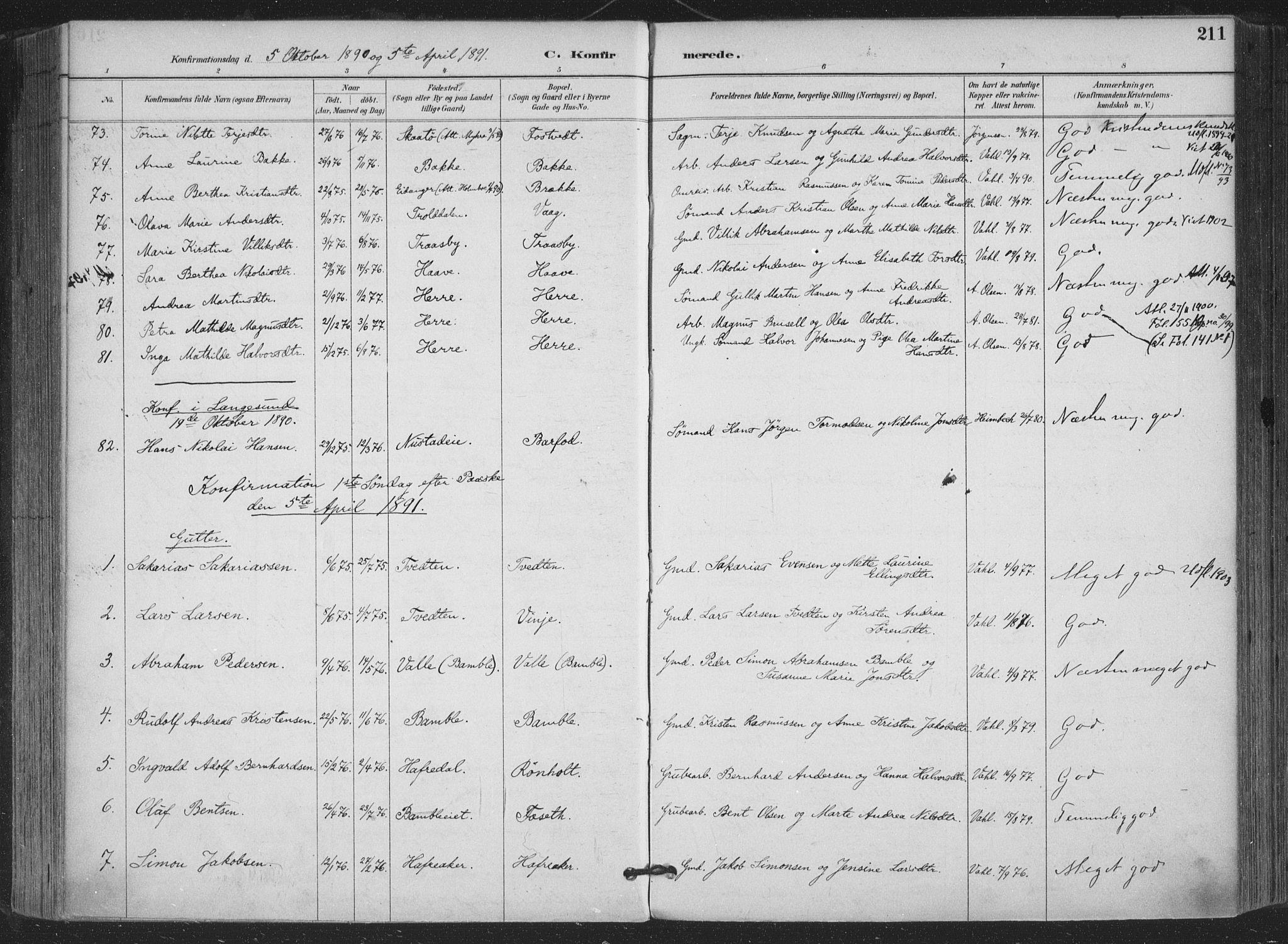 SAKO, Bamble kirkebøker, F/Fa/L0008: Ministerialbok nr. I 8, 1888-1900, s. 211