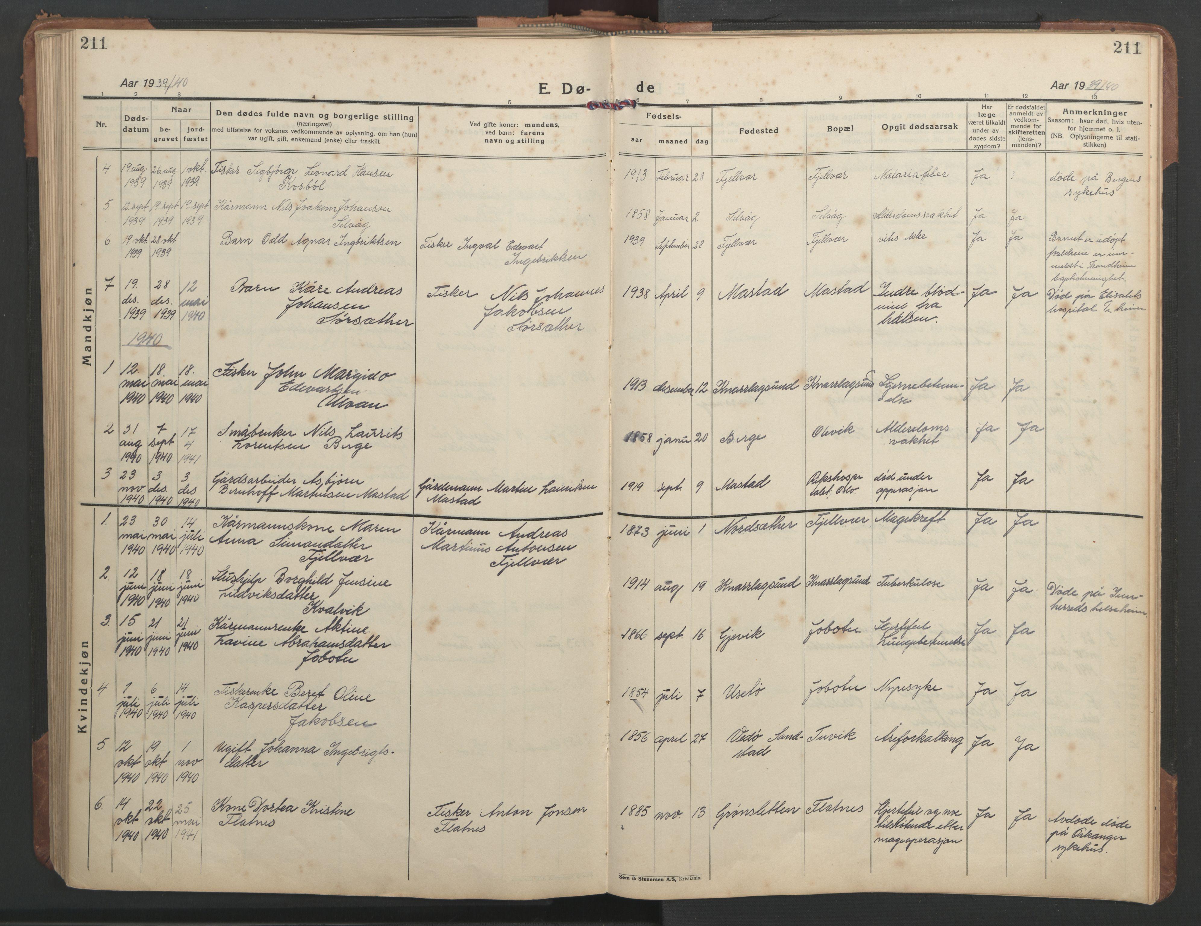 SAT, Ministerialprotokoller, klokkerbøker og fødselsregistre - Sør-Trøndelag, 638/L0569: Klokkerbok nr. 638C01, 1923-1961, s. 211
