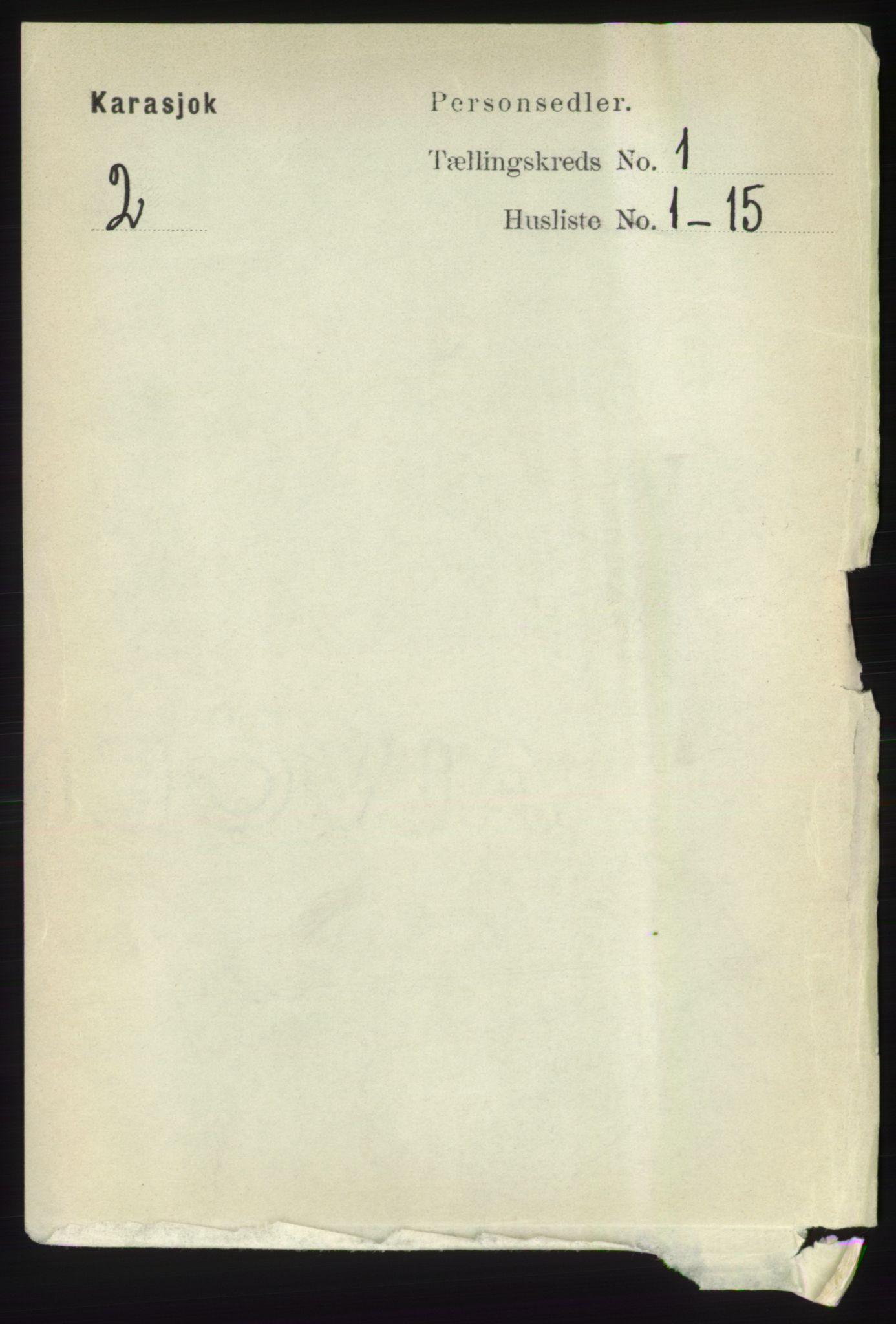 RA, Folketelling 1891 for 2021 Karasjok herred, 1891, s. 53
