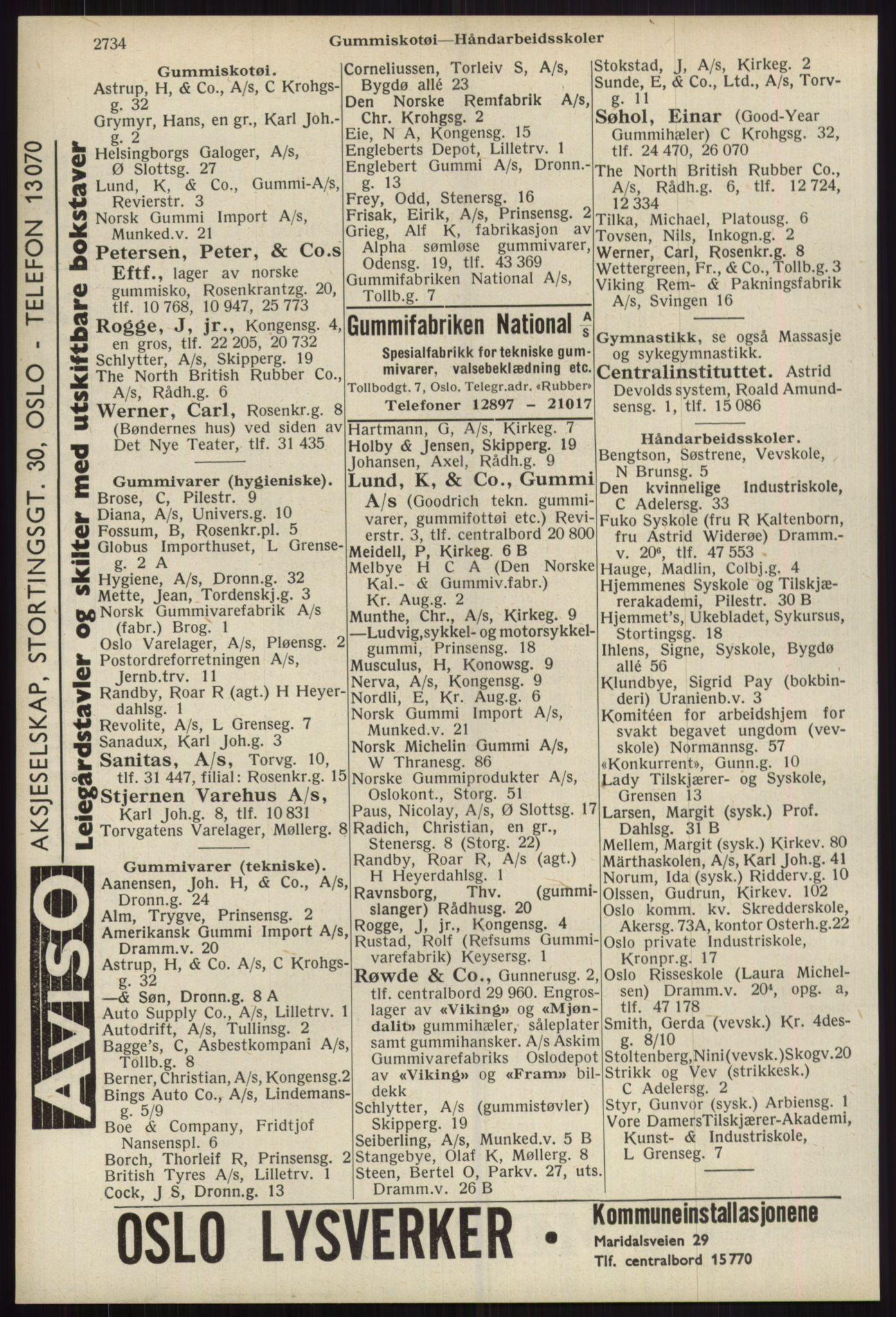 RA, Oslo adressebok (publikasjon)*, 1939, s. 2734