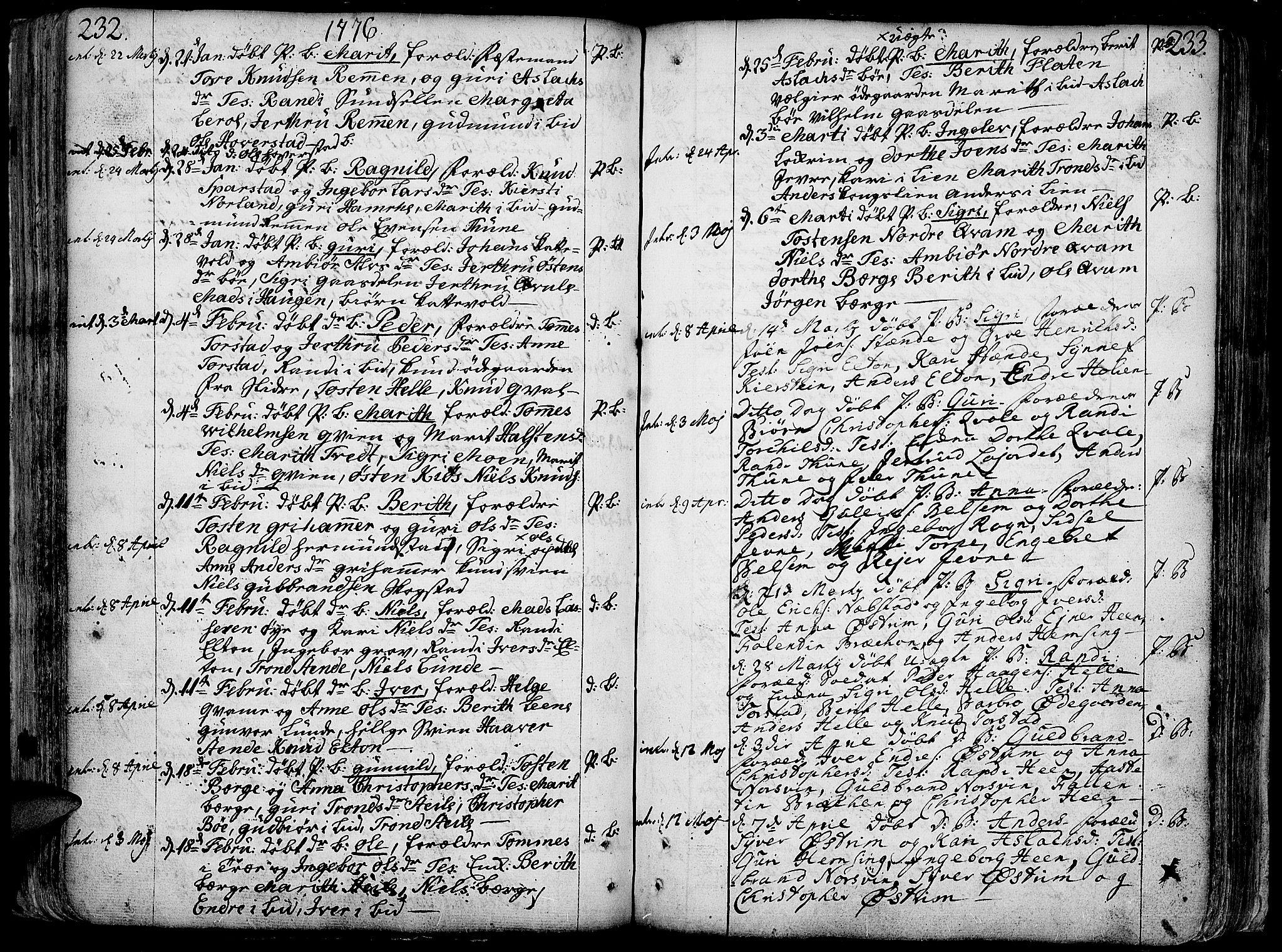 SAH, Vang prestekontor, Valdres, Ministerialbok nr. 1, 1730-1796, s. 232-233
