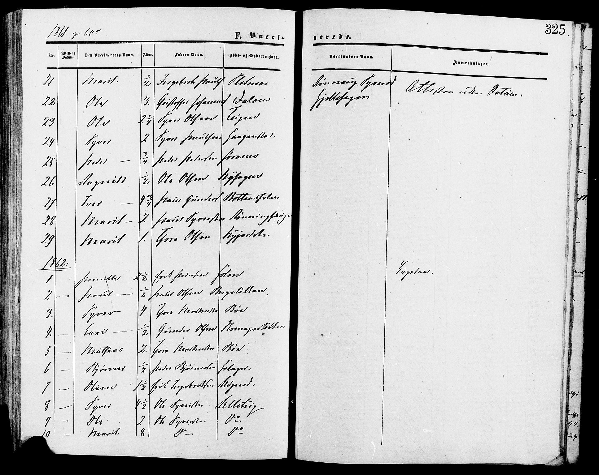 SAH, Lesja prestekontor, Ministerialbok nr. 9, 1854-1889, s. 325