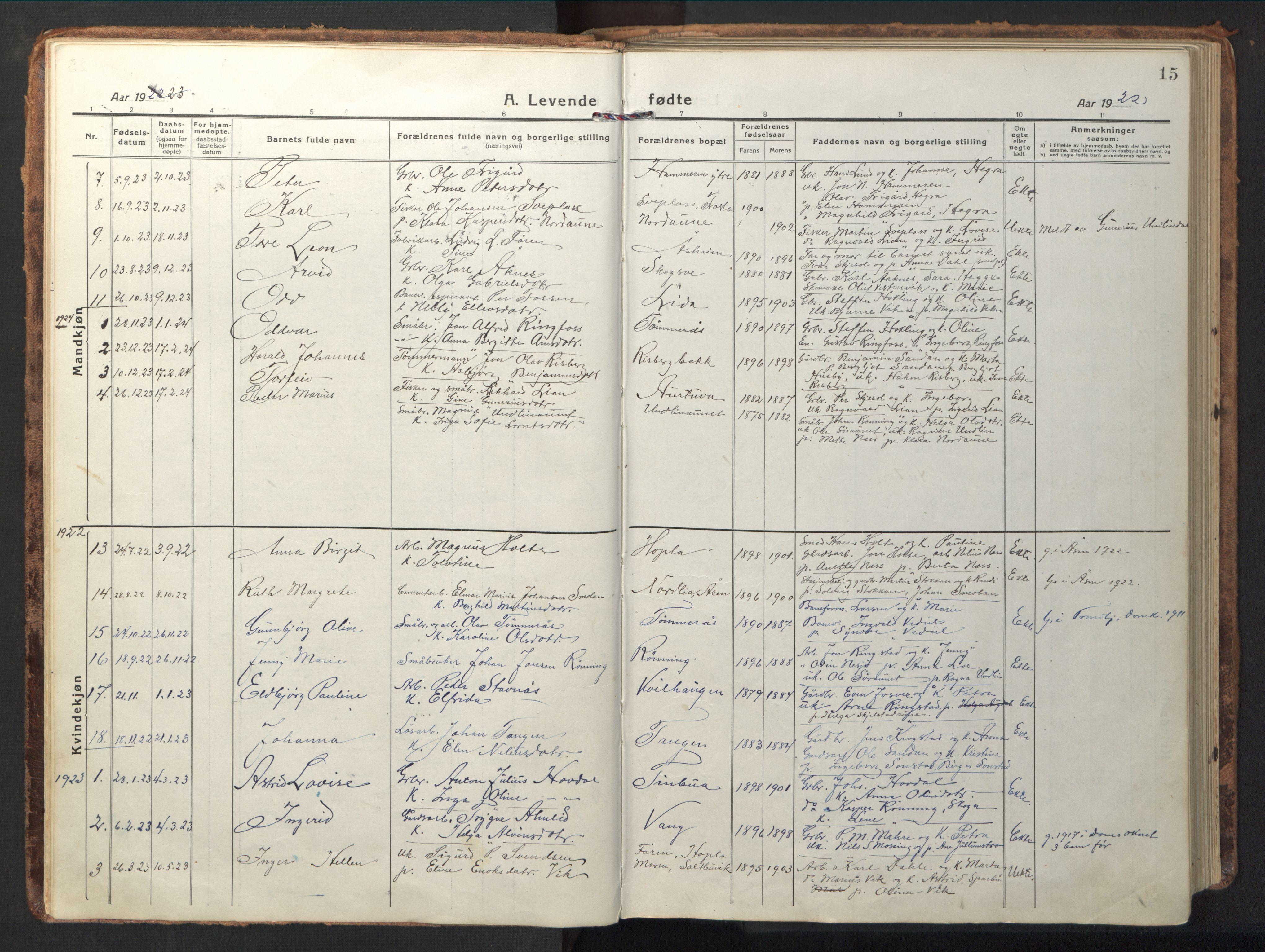 SAT, Ministerialprotokoller, klokkerbøker og fødselsregistre - Nord-Trøndelag, 714/L0136: Klokkerbok nr. 714C05, 1918-1957, s. 15