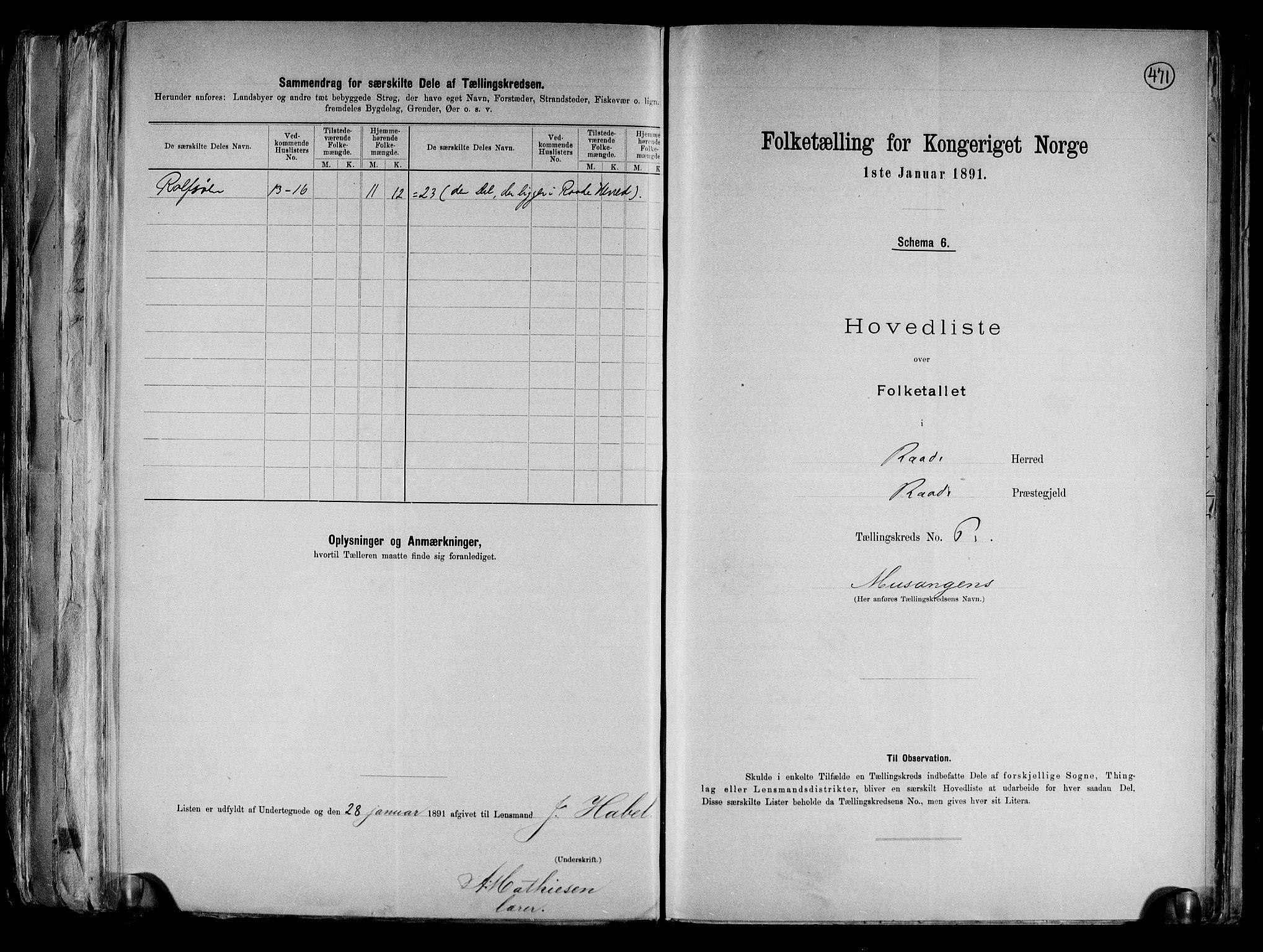 RA, Folketelling 1891 for 0135 Råde herred, 1891, s. 15