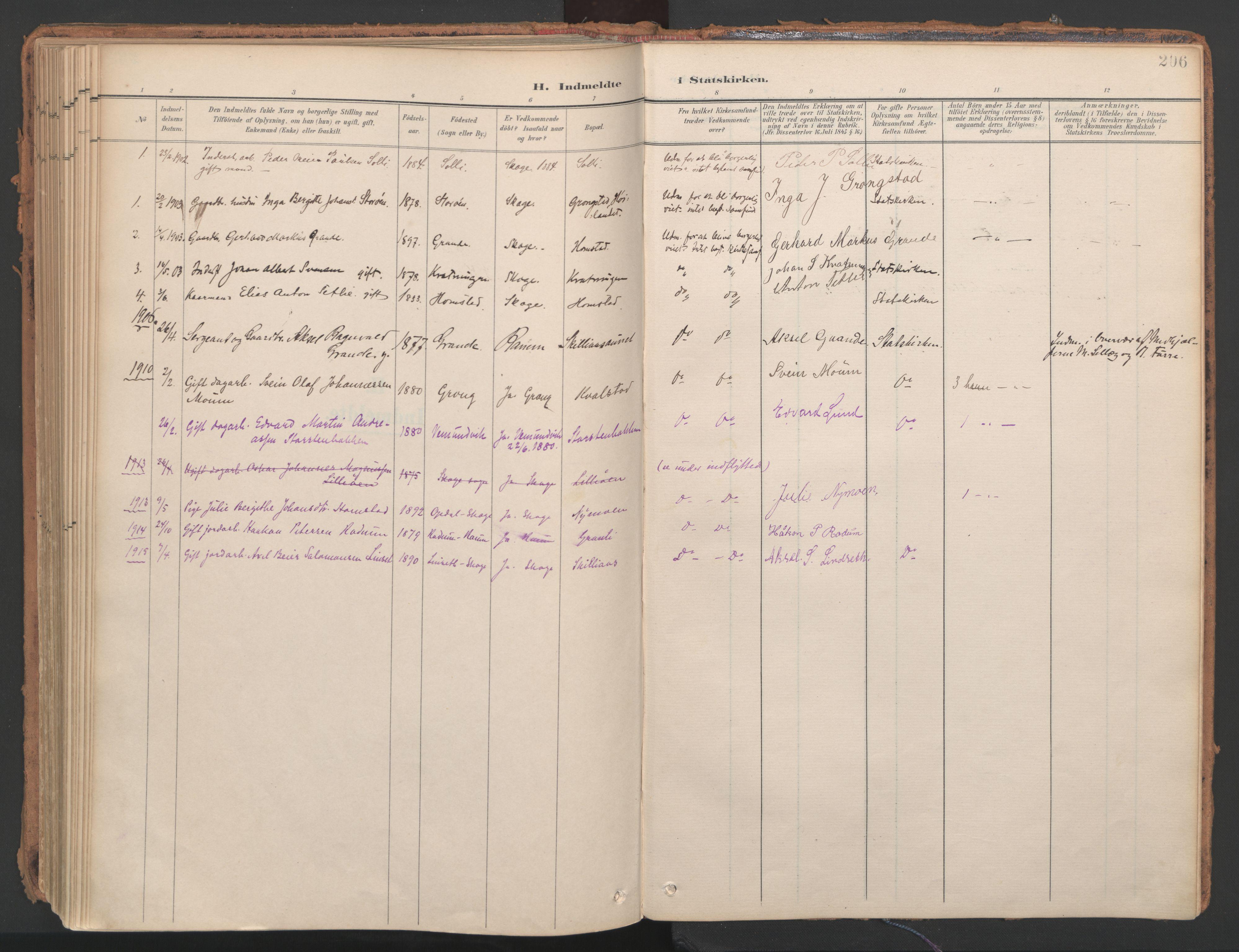 SAT, Ministerialprotokoller, klokkerbøker og fødselsregistre - Nord-Trøndelag, 766/L0564: Ministerialbok nr. 767A02, 1900-1932, s. 206