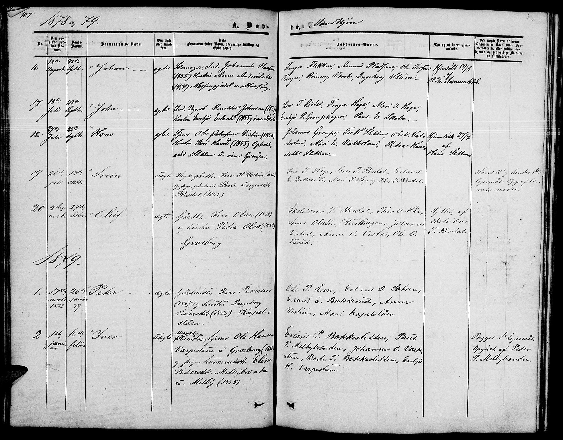 SAH, Nord-Fron prestekontor, Klokkerbok nr. 2, 1851-1883, s. 107