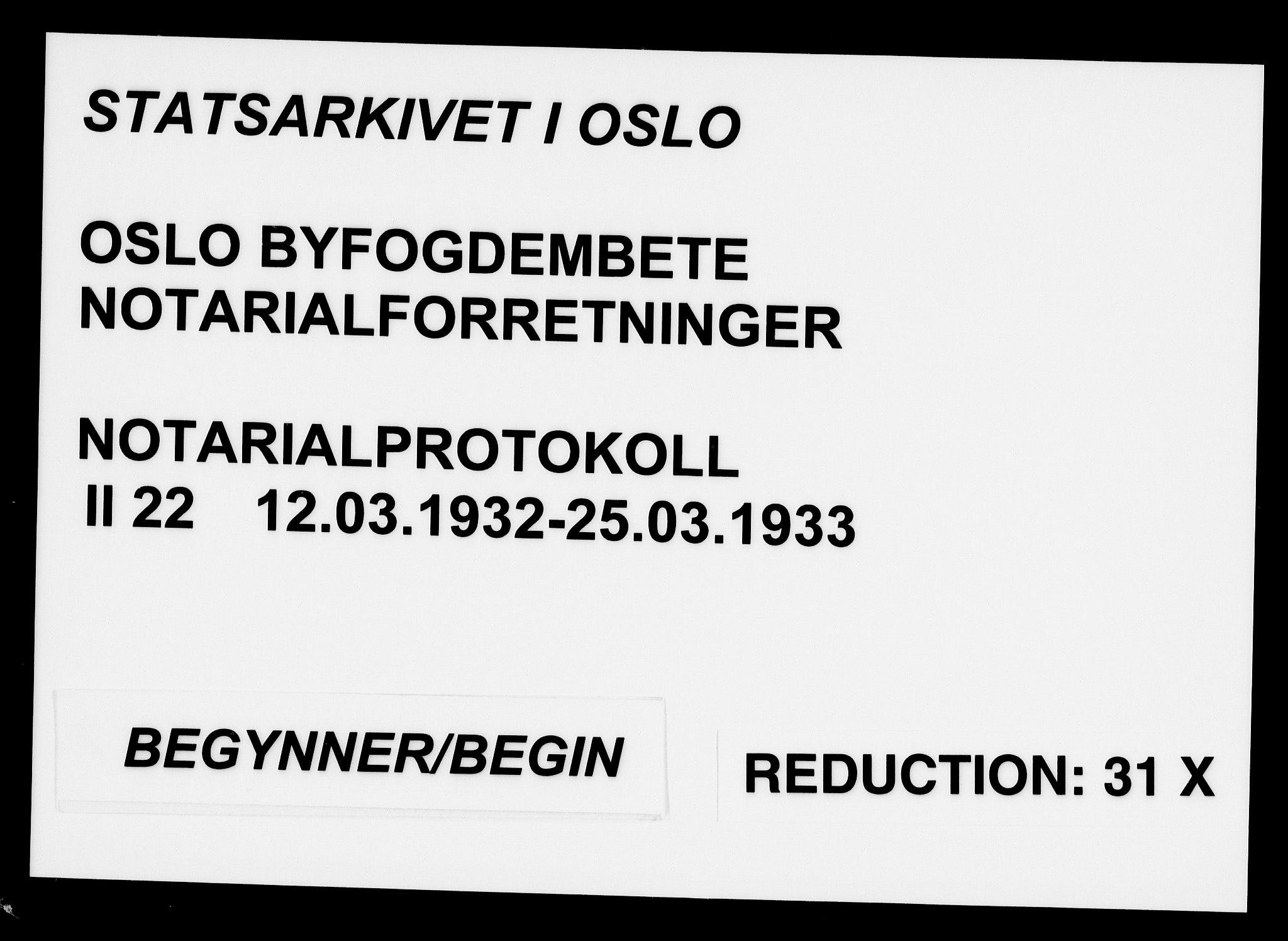SAO, Oslo byfogd avd. I, L/Lb/Lbb/L0022: Notarialprotokoll, rekke II: Vigsler, 1932-1933, s. upaginert