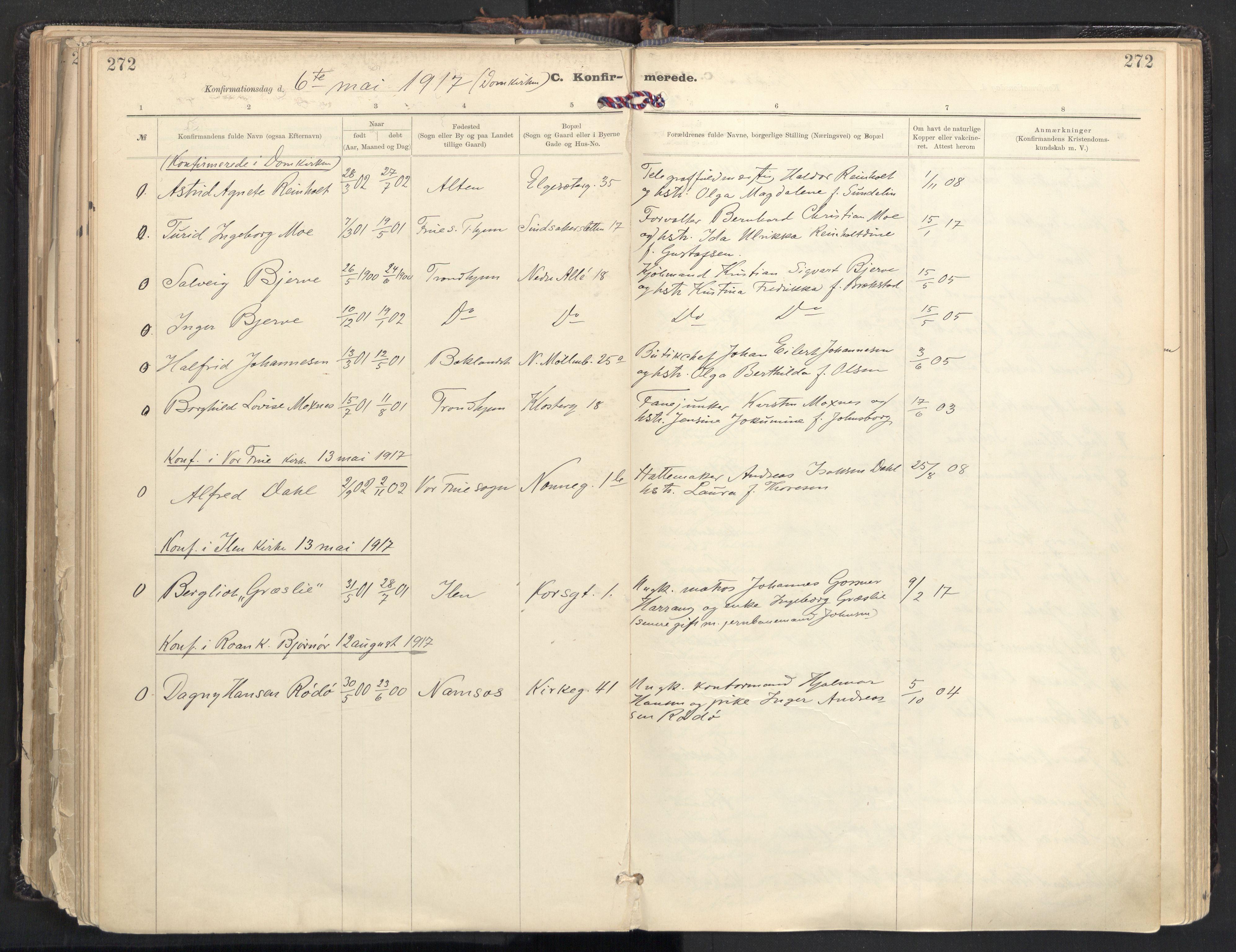 SAT, Ministerialprotokoller, klokkerbøker og fødselsregistre - Sør-Trøndelag, 604/L0205: Ministerialbok nr. 604A25, 1917-1932, s. 272