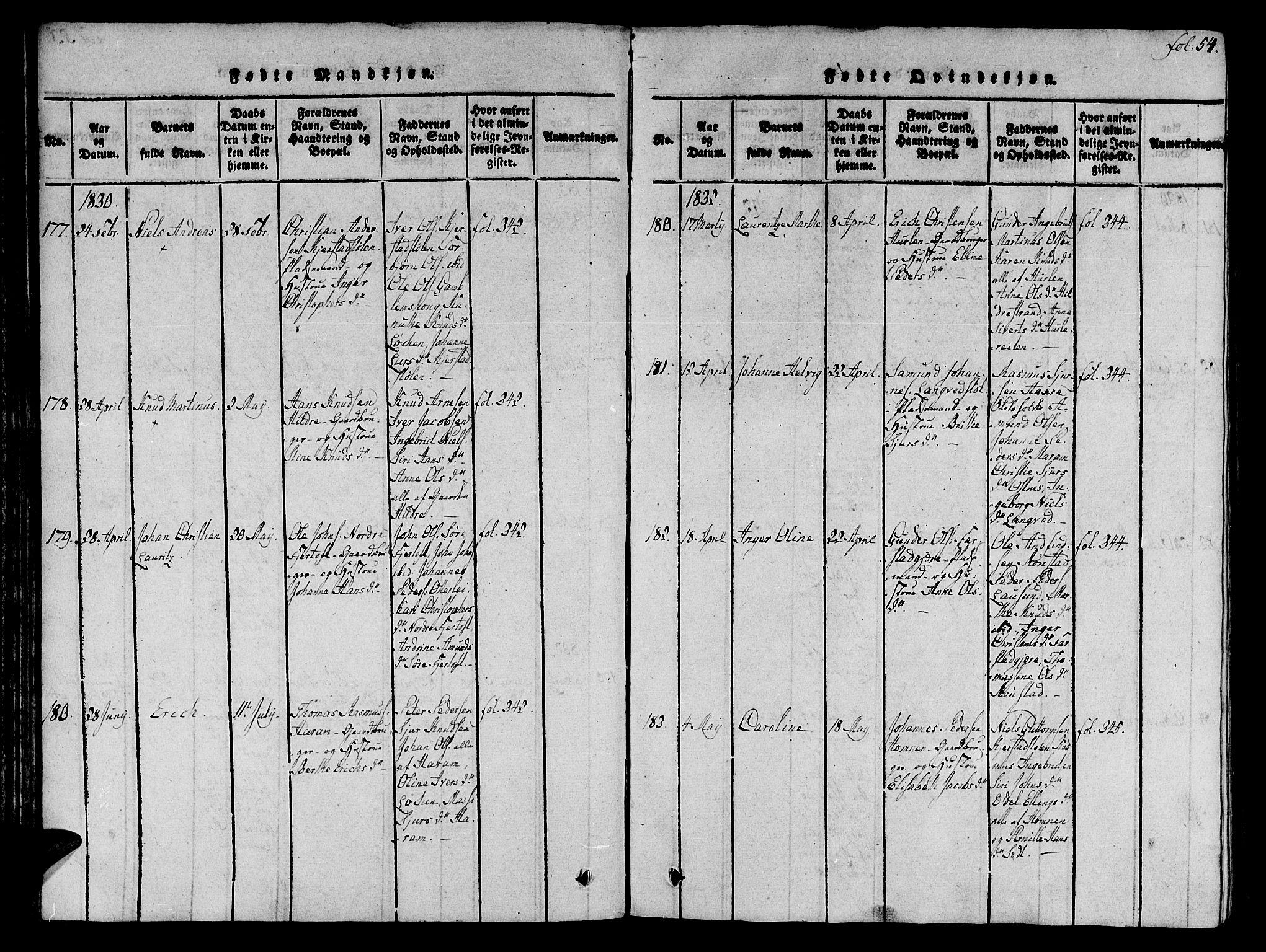 SAT, Ministerialprotokoller, klokkerbøker og fødselsregistre - Møre og Romsdal, 536/L0495: Ministerialbok nr. 536A04, 1818-1847, s. 54