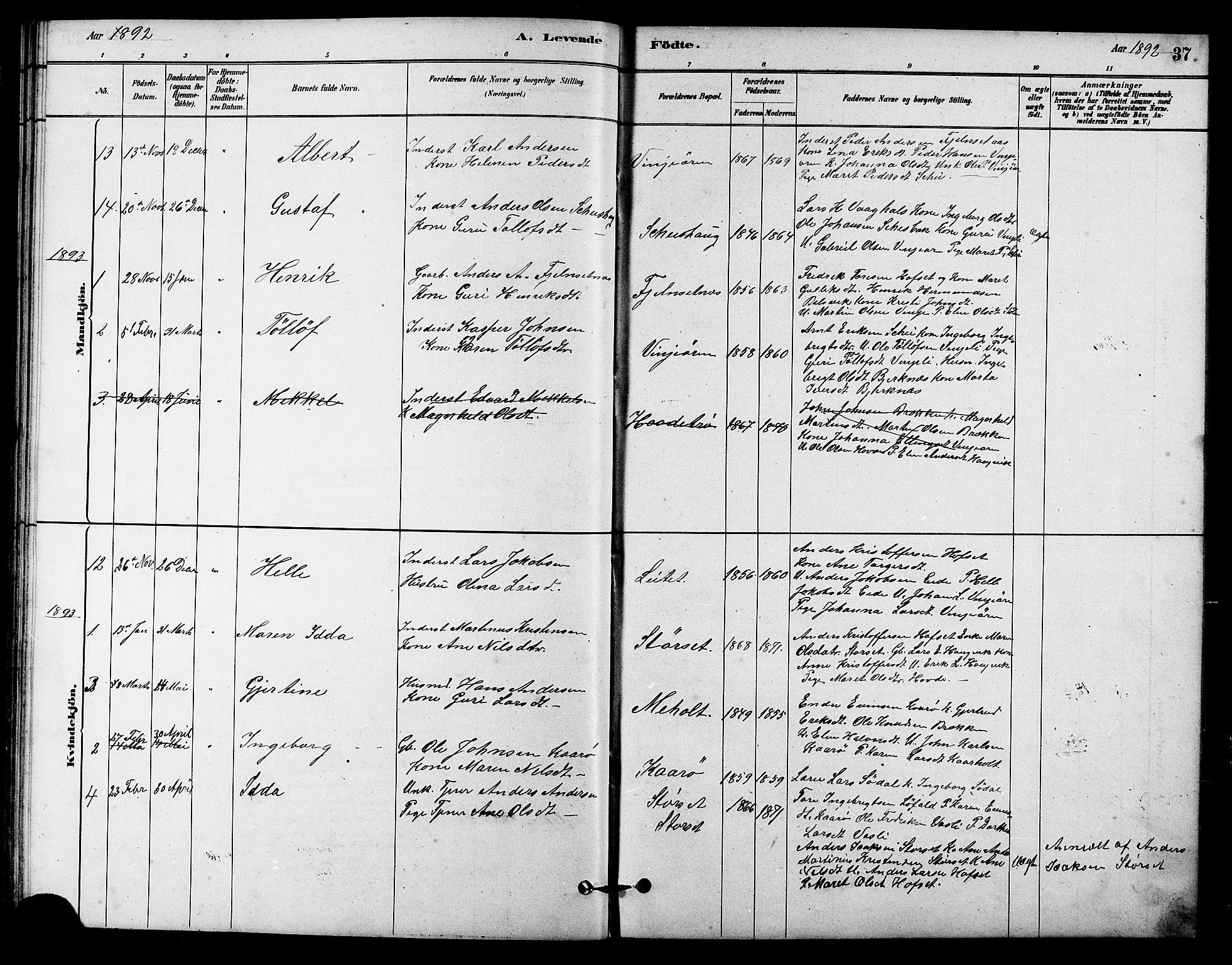 SAT, Ministerialprotokoller, klokkerbøker og fødselsregistre - Sør-Trøndelag, 631/L0514: Klokkerbok nr. 631C02, 1879-1912, s. 37