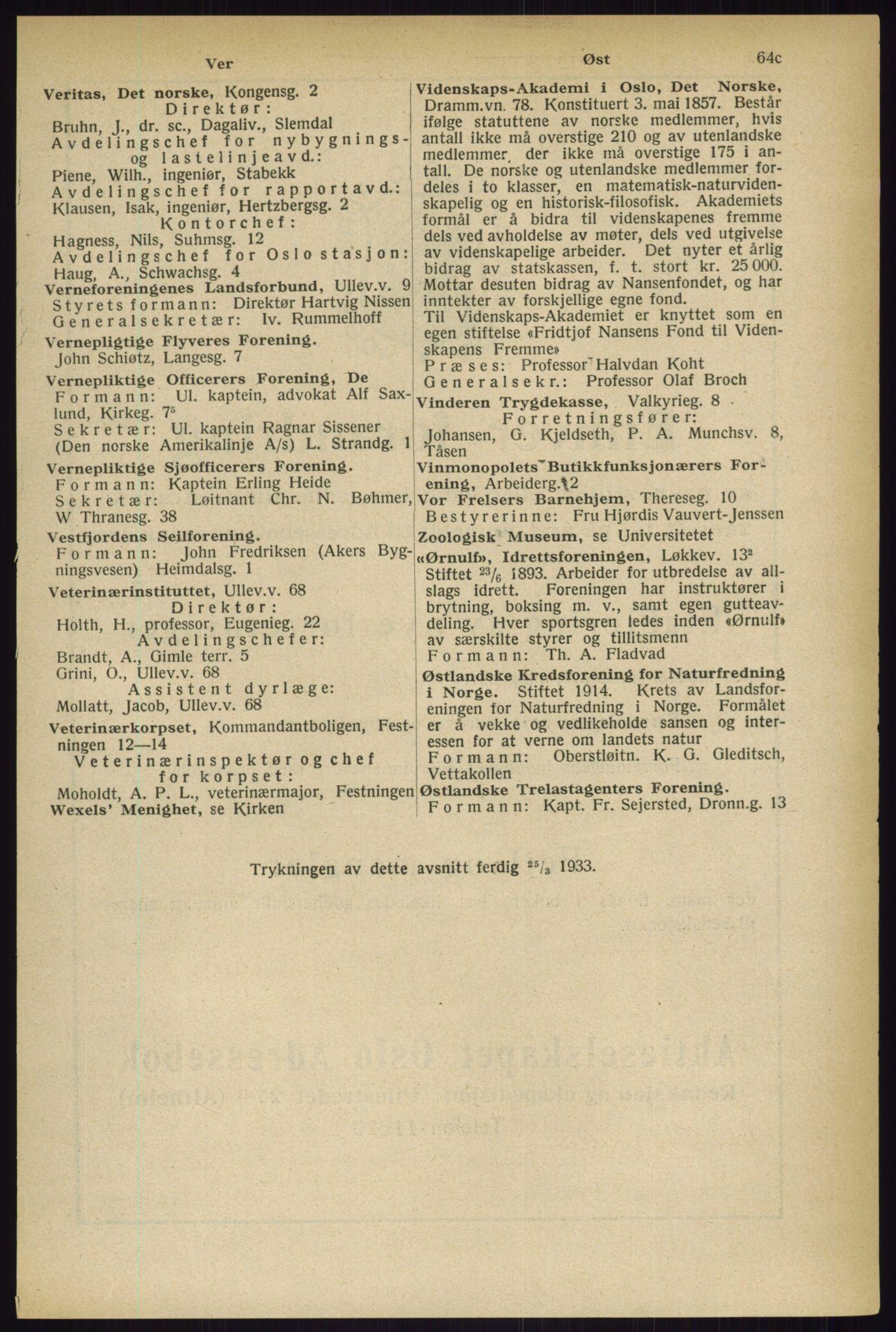 RA, Oslo adressebok (publikasjon)*, 1933, s. 67