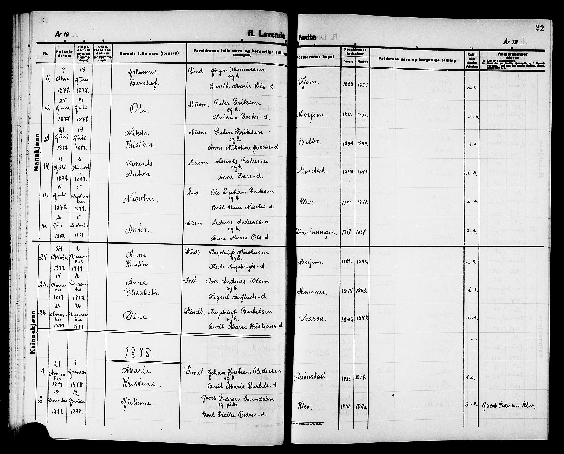 SAT, Ministerialprotokoller, klokkerbøker og fødselsregistre - Nord-Trøndelag, 749/L0486: Ministerialbok nr. 749D02, 1873-1887, s. 22