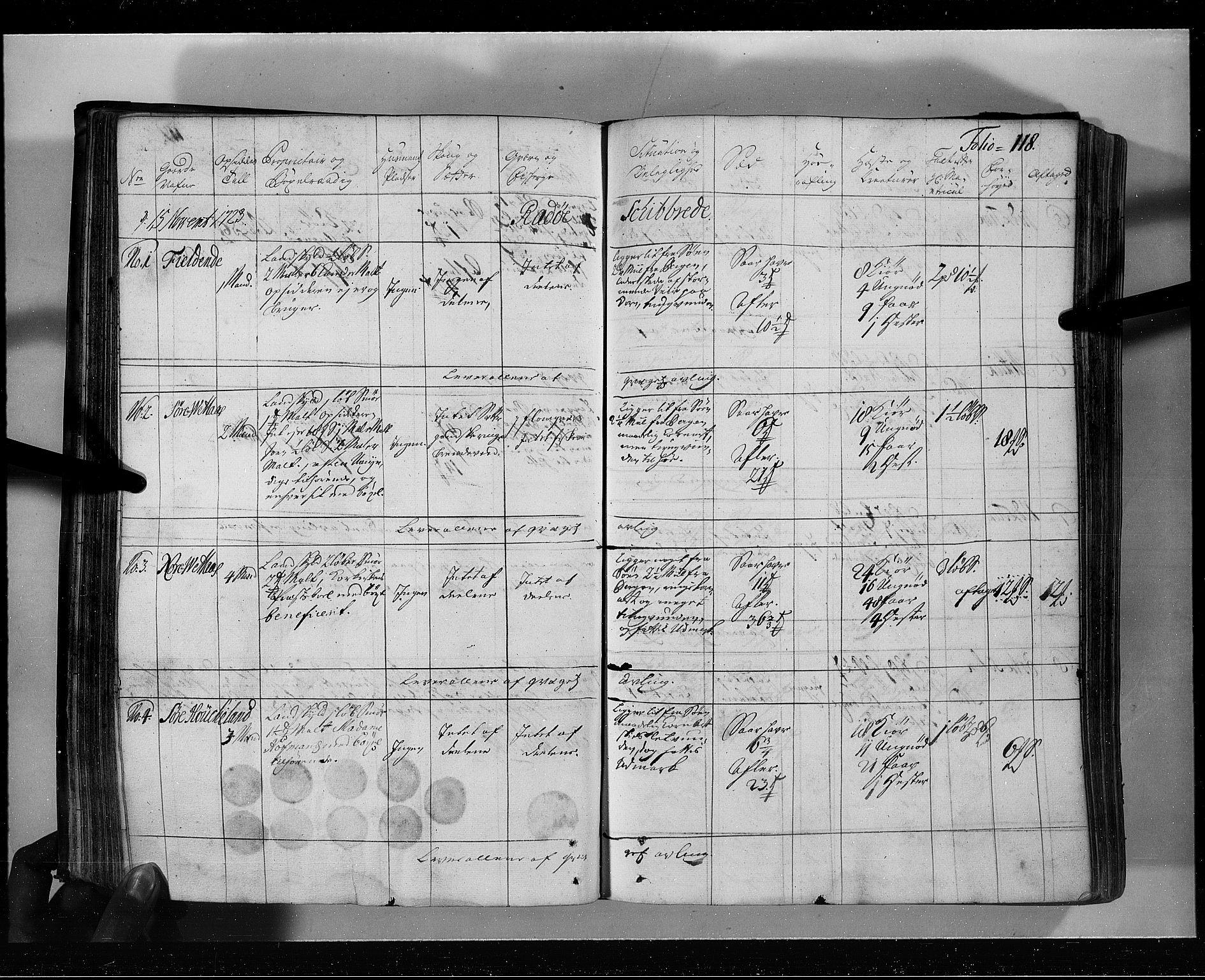 RA, Rentekammeret inntil 1814, Realistisk ordnet avdeling, N/Nb/Nbf/L0139: Nordhordland eksaminasjonsprotokoll, 1723, s. 117b-118a