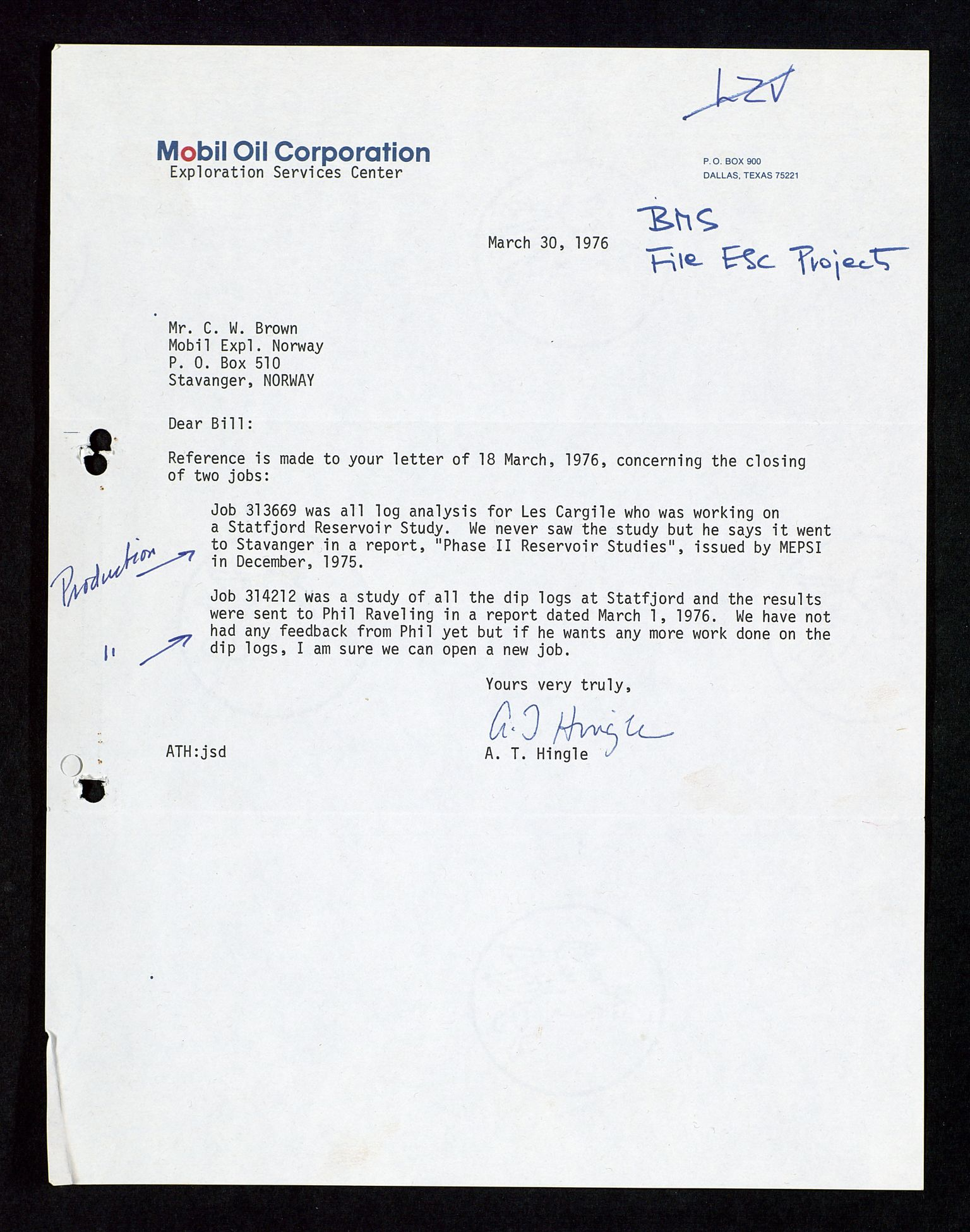SAST, Pa 1578 - Mobil Exploration Norway Incorporated, D/Da/L0117: S.E. Smith - Sak og korrespondanse, 1973-1977, s. 562