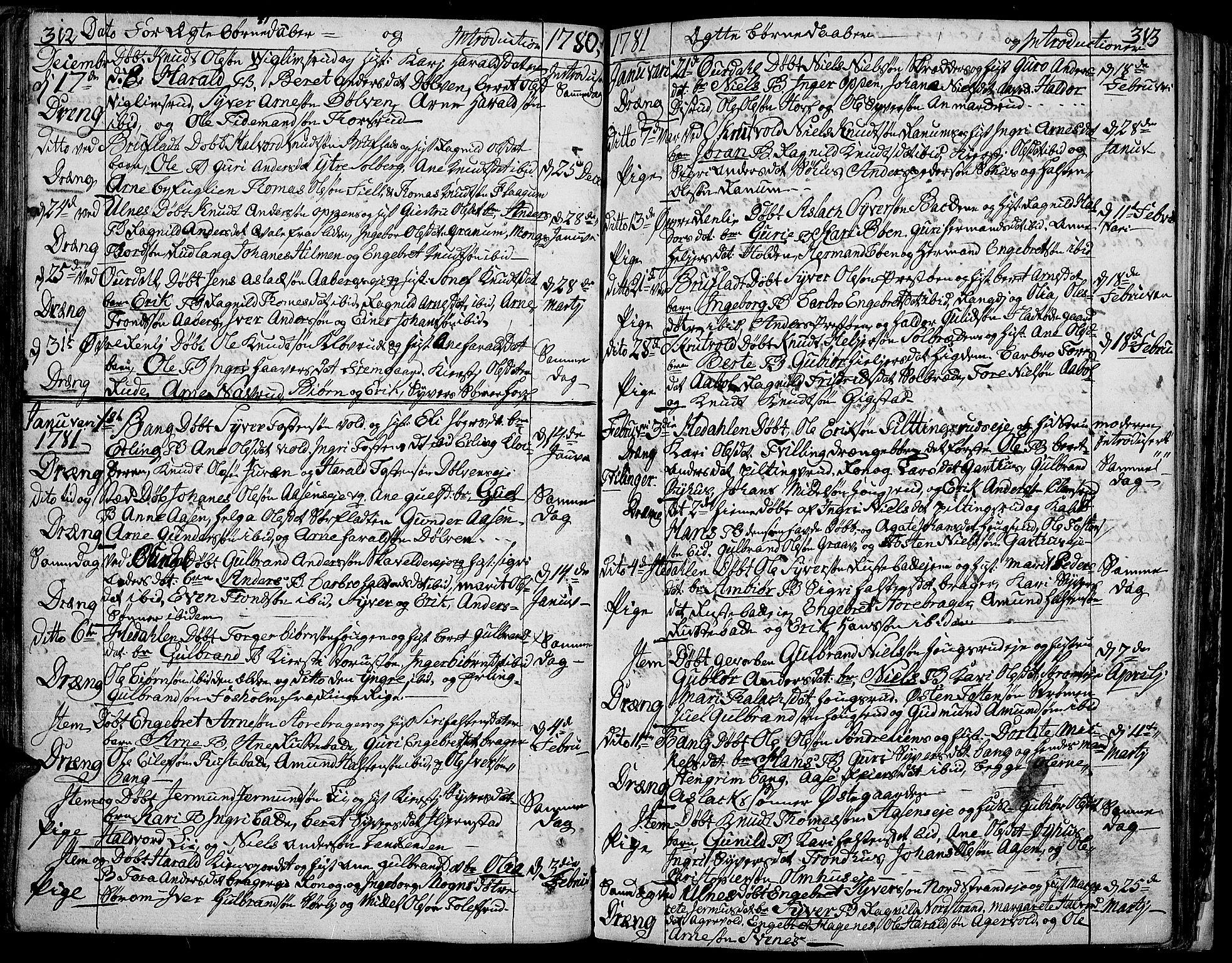 SAH, Aurdal prestekontor, Ministerialbok nr. 5, 1763-1781, s. 312-313