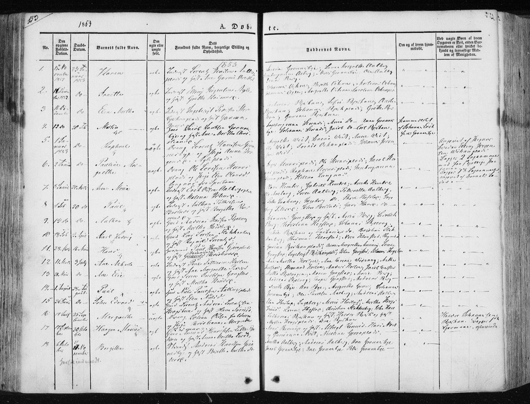 SAT, Ministerialprotokoller, klokkerbøker og fødselsregistre - Nord-Trøndelag, 730/L0280: Ministerialbok nr. 730A07 /3, 1840-1854, s. 153