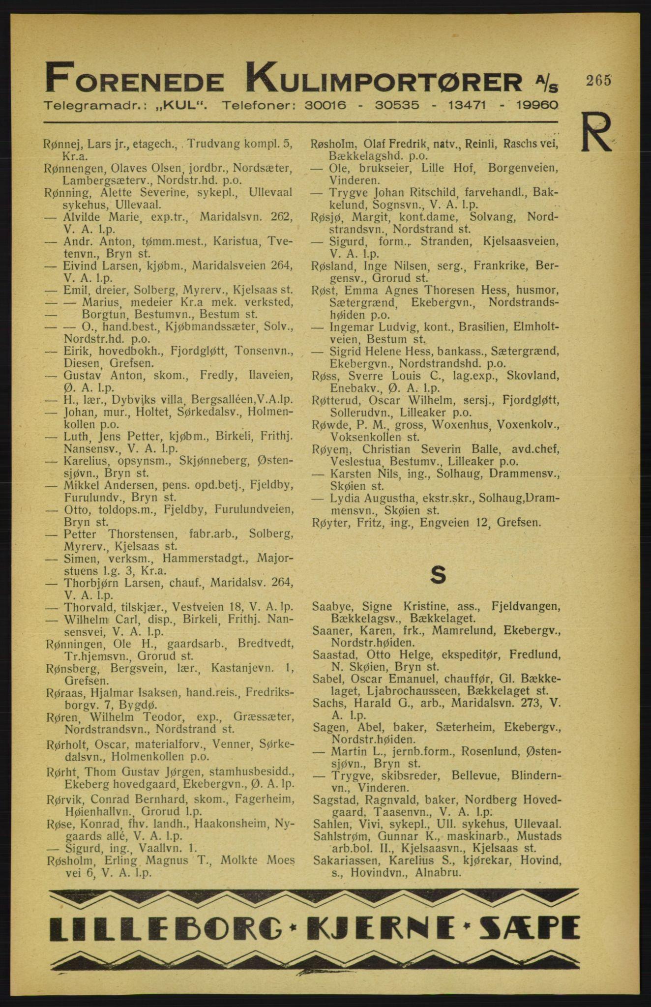 RA, Aker adressebok/adressekalender (publikasjon)*, 1922, s. 265