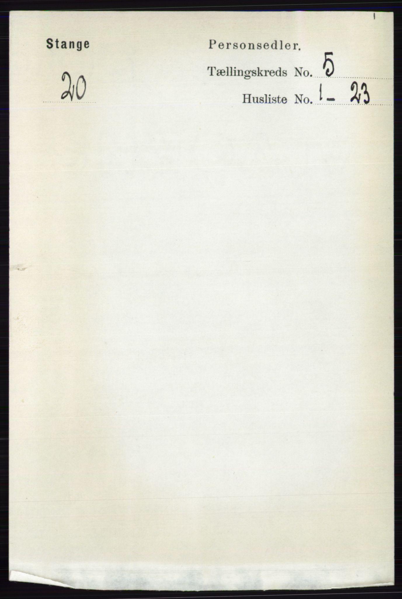 RA, Folketelling 1891 for 0417 Stange herred, 1891, s. 3095