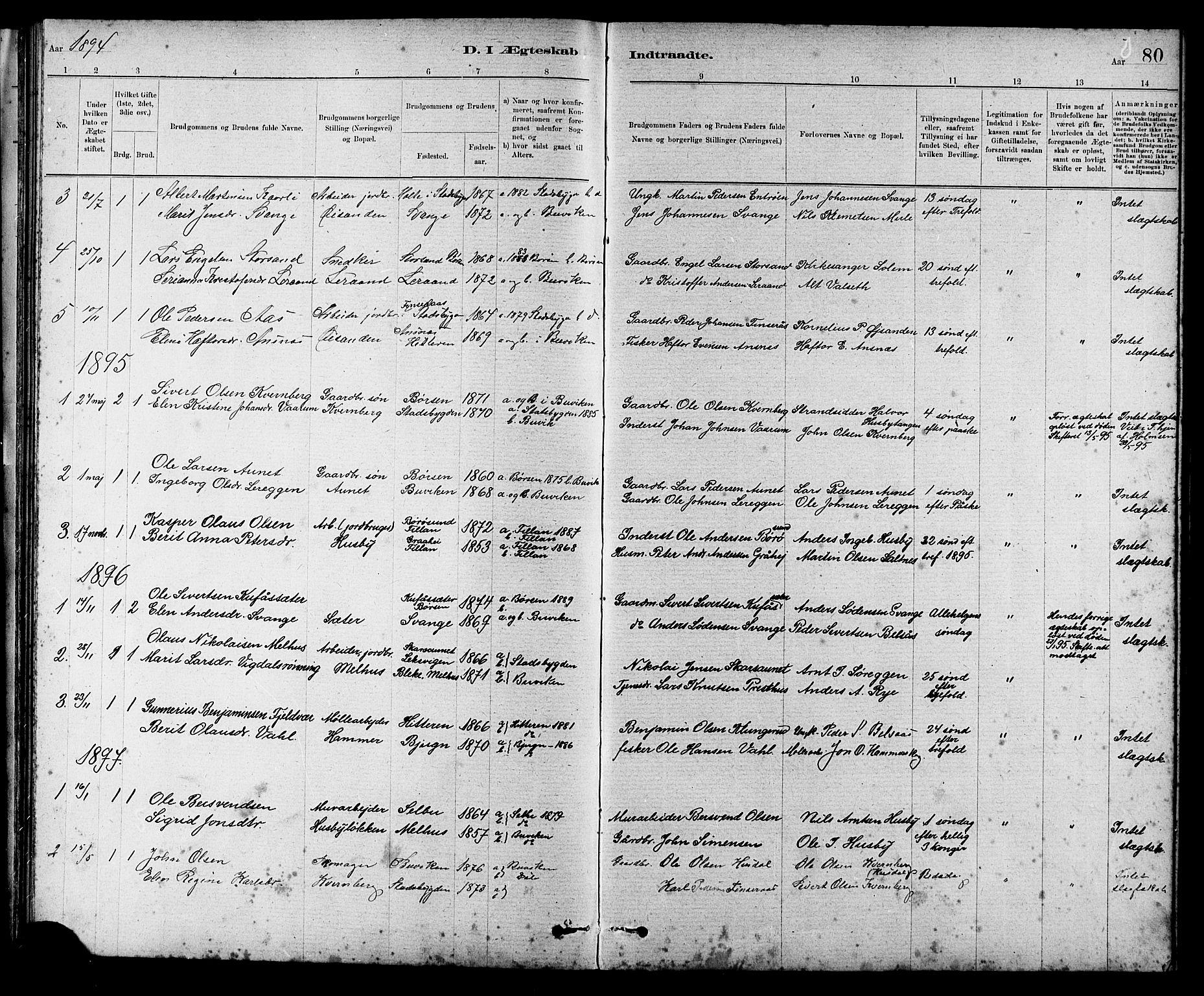 SAT, Ministerialprotokoller, klokkerbøker og fødselsregistre - Sør-Trøndelag, 666/L0790: Klokkerbok nr. 666C03, 1885-1908, s. 80