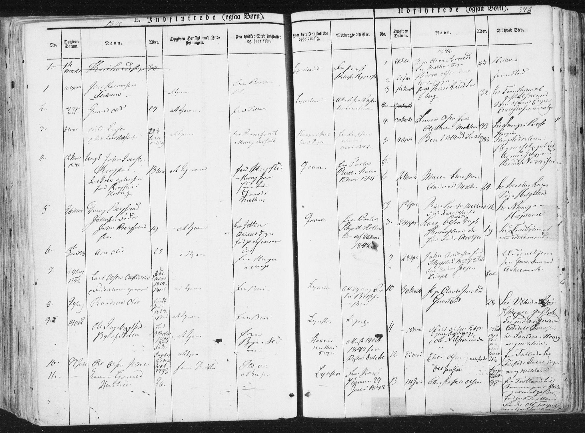 SAT, Ministerialprotokoller, klokkerbøker og fødselsregistre - Sør-Trøndelag, 691/L1074: Ministerialbok nr. 691A06, 1842-1852, s. 376