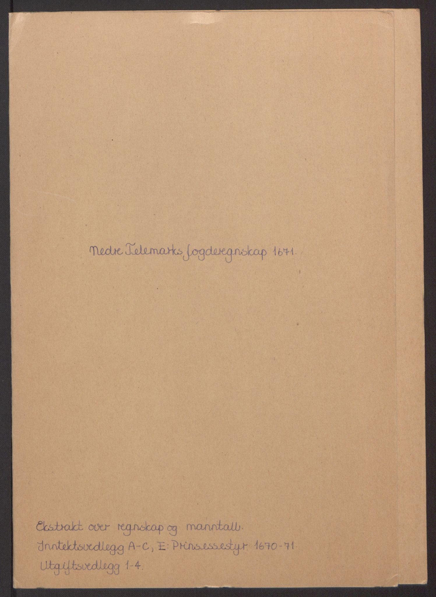 RA, Rentekammeret inntil 1814, Reviderte regnskaper, Fogderegnskap, R35/L2060: Fogderegnskap Øvre og Nedre Telemark, 1671-1672, s. 130