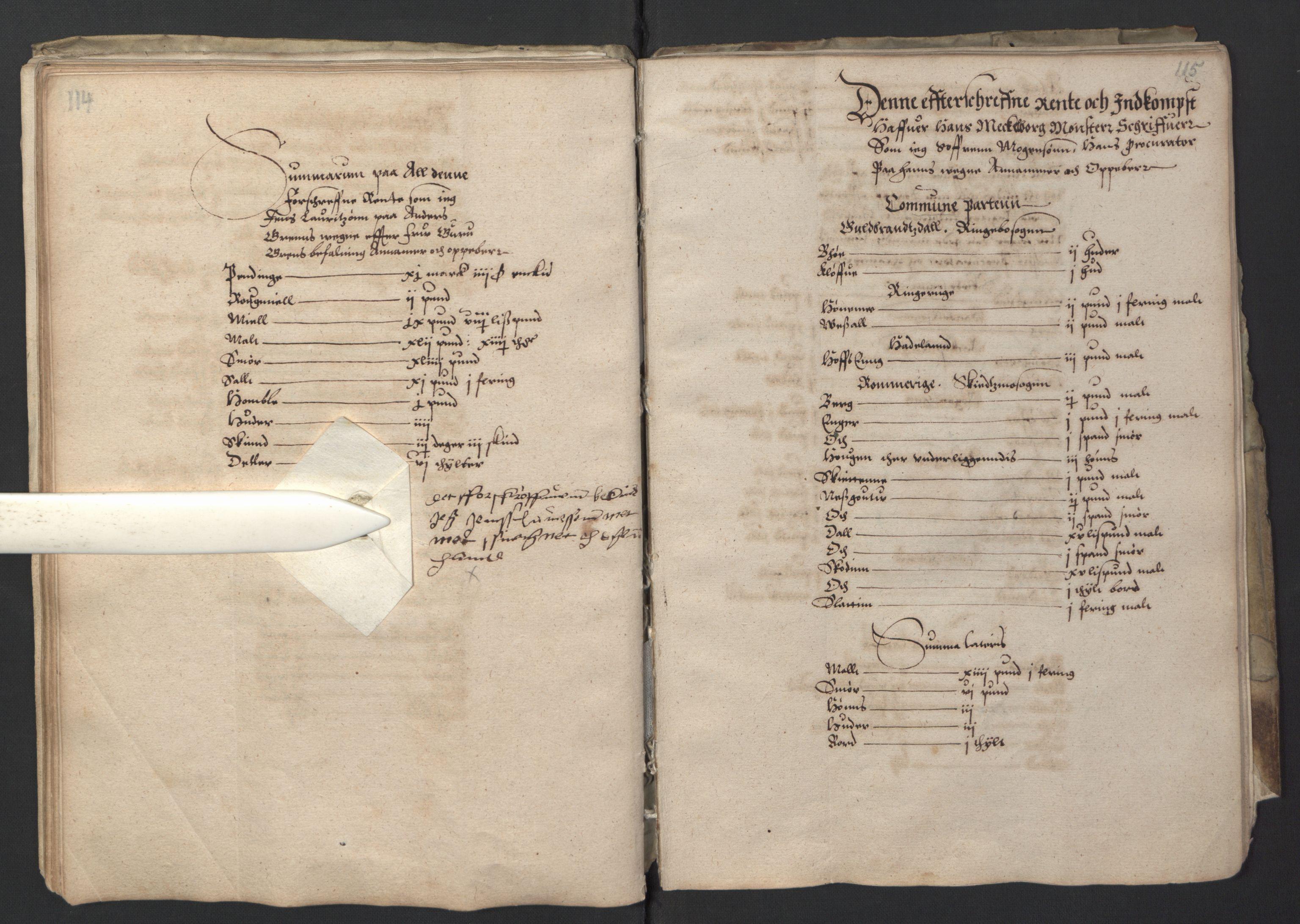 RA, Stattholderembetet 1572-1771, Ek/L0001: Jordebøker før 1624 og til utligning av garnisonsskatt 1624-1626:, 1595, s. 114-115