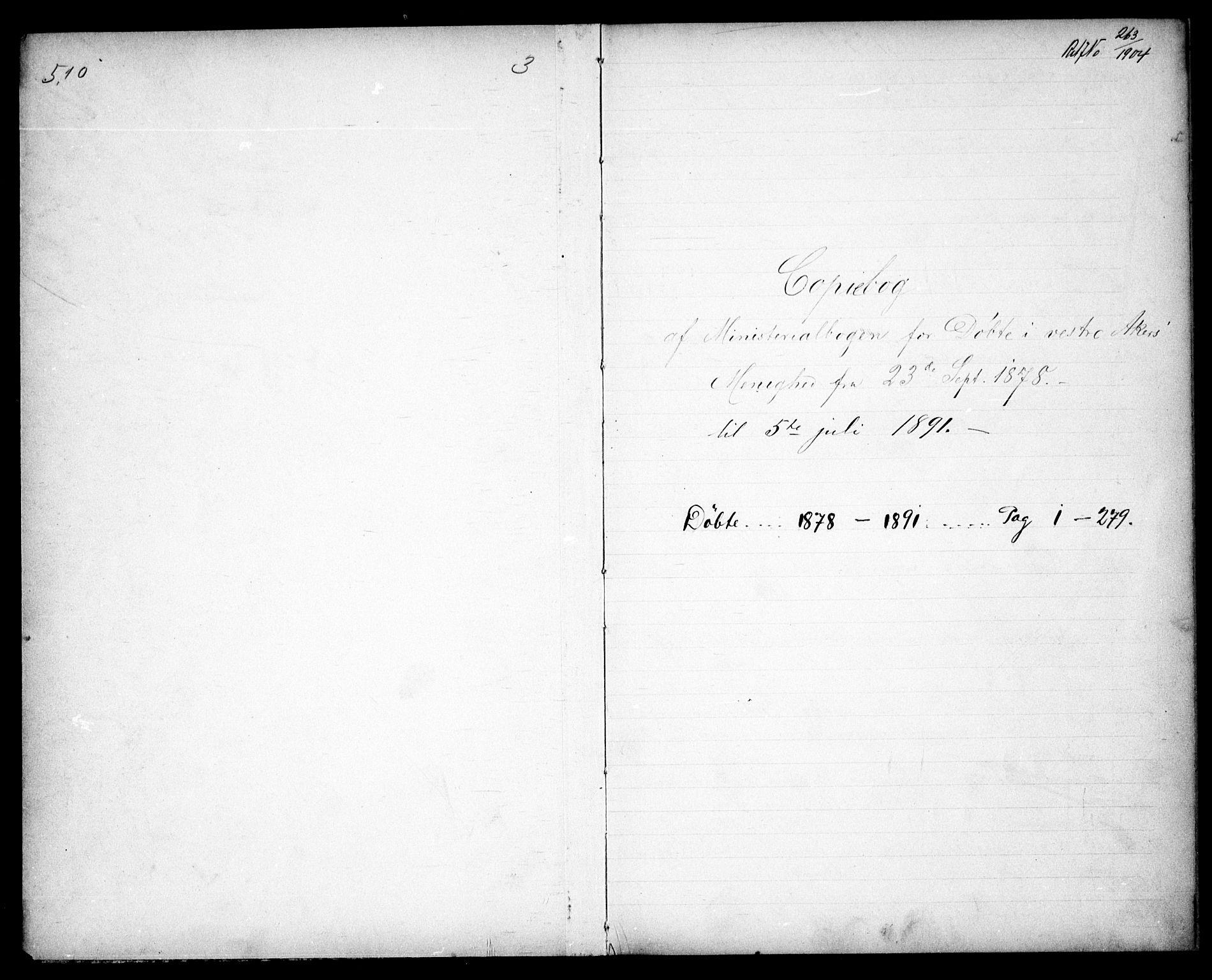 SAO, Vestre Aker prestekontor Kirkebøker, G/Ga/L0003: Klokkerbok nr. I 3, 1878-1891