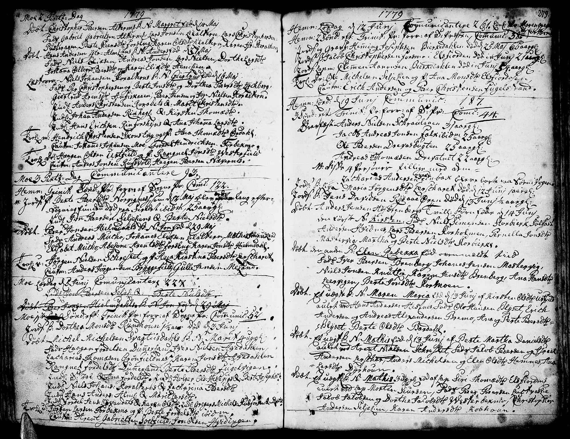 SAT, Ministerialprotokoller, klokkerbøker og fødselsregistre - Nordland, 825/L0348: Ministerialbok nr. 825A04, 1752-1788, s. 279