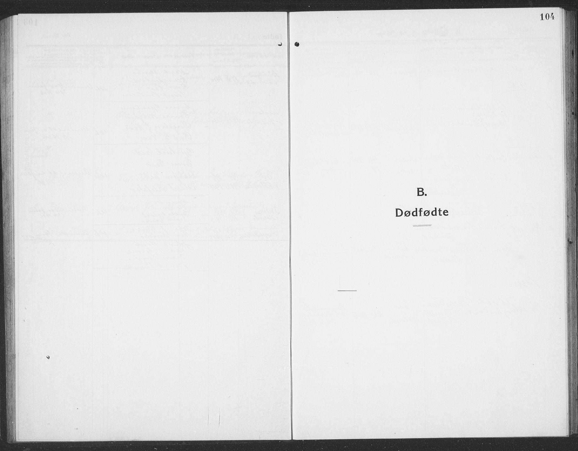 SAT, Ministerialprotokoller, klokkerbøker og fødselsregistre - Sør-Trøndelag, 694/L1134: Klokkerbok nr. 694C06, 1915-1937, s. 104
