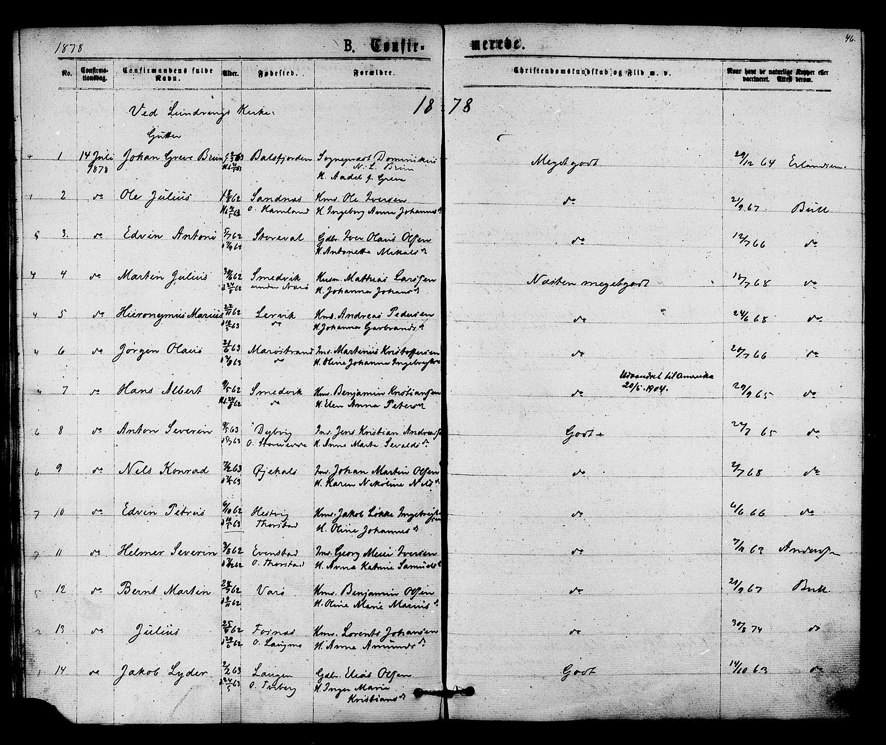 SAT, Ministerialprotokoller, klokkerbøker og fødselsregistre - Nord-Trøndelag, 784/L0671: Ministerialbok nr. 784A06, 1876-1879, s. 46