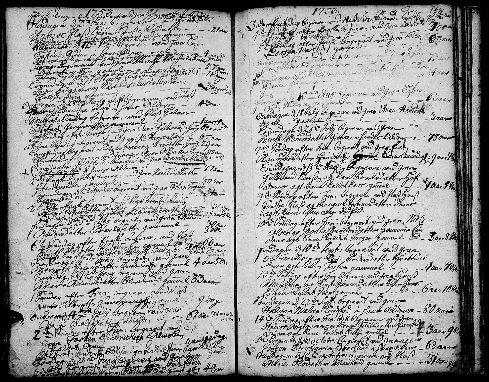 SAH, Gran prestekontor, Ministerialbok nr. 3, 1745-1758, s. 192