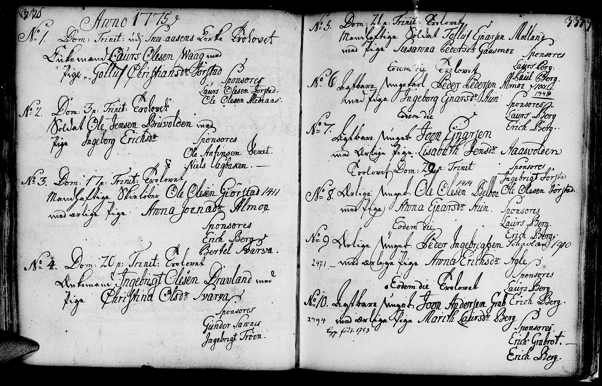 SAT, Ministerialprotokoller, klokkerbøker og fødselsregistre - Nord-Trøndelag, 749/L0467: Ministerialbok nr. 749A01, 1733-1787, s. 336-337