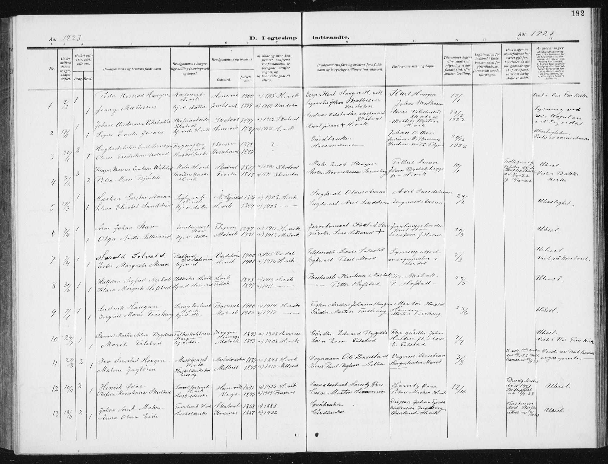 SAT, Ministerialprotokoller, klokkerbøker og fødselsregistre - Sør-Trøndelag, 617/L0431: Klokkerbok nr. 617C02, 1910-1936, s. 182