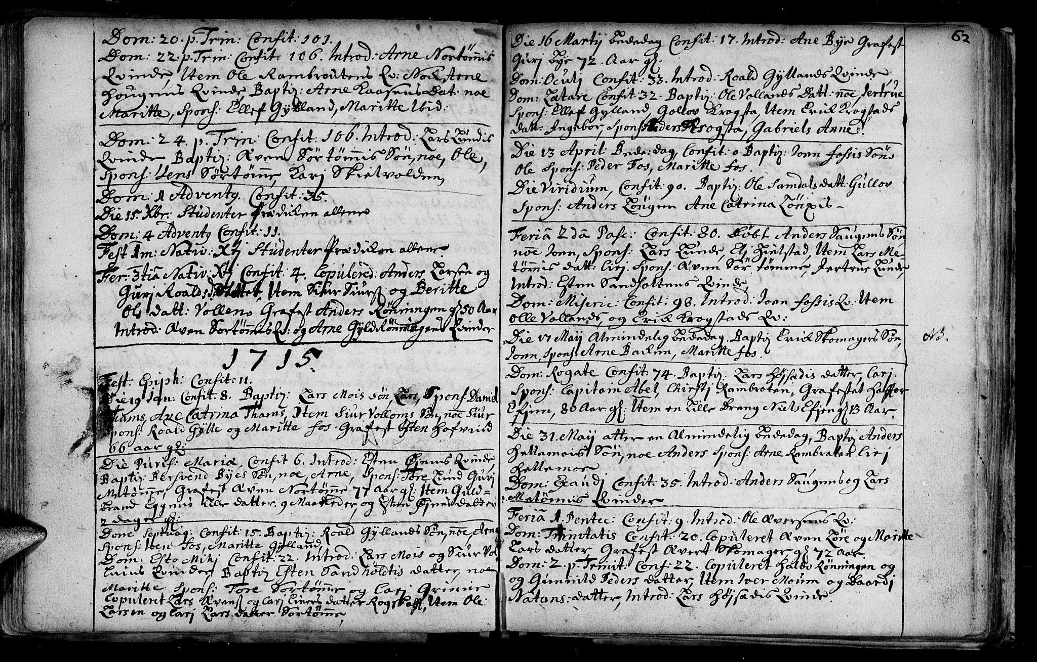 SAT, Ministerialprotokoller, klokkerbøker og fødselsregistre - Sør-Trøndelag, 692/L1101: Ministerialbok nr. 692A01, 1690-1746, s. 62