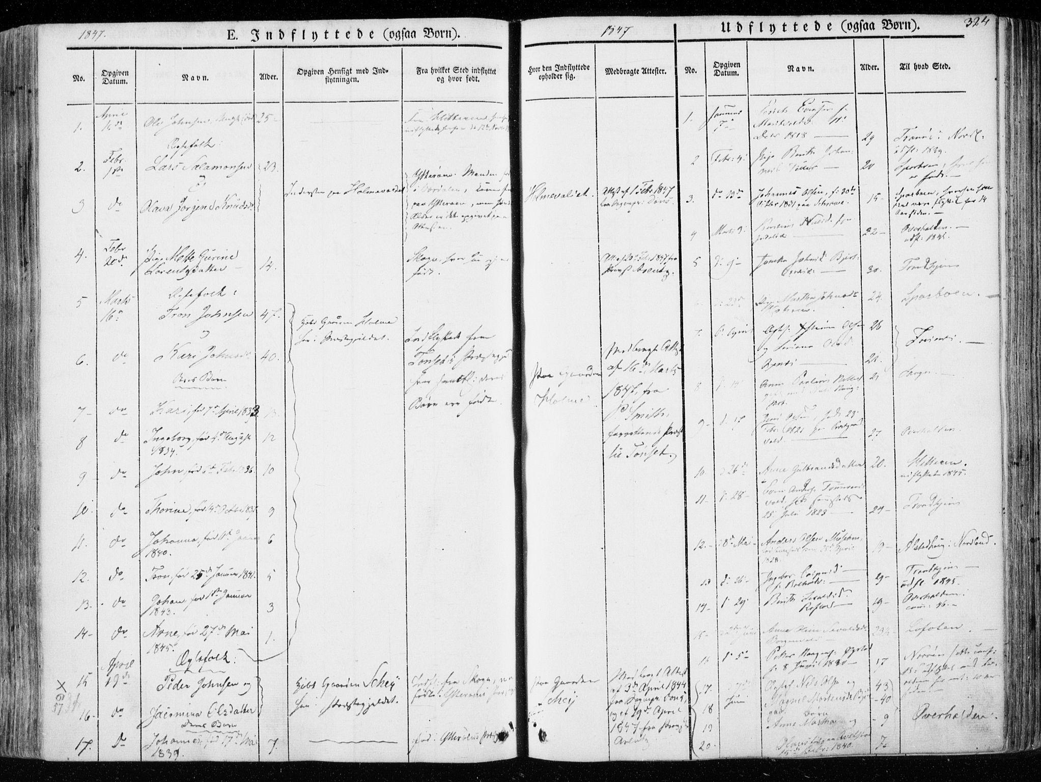 SAT, Ministerialprotokoller, klokkerbøker og fødselsregistre - Nord-Trøndelag, 723/L0239: Ministerialbok nr. 723A08, 1841-1851, s. 324